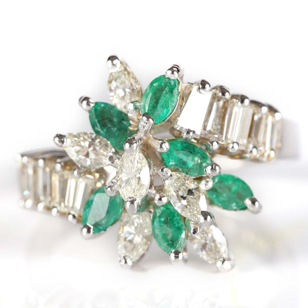 14K White Gold Emerald and Diamond Cluster Ring