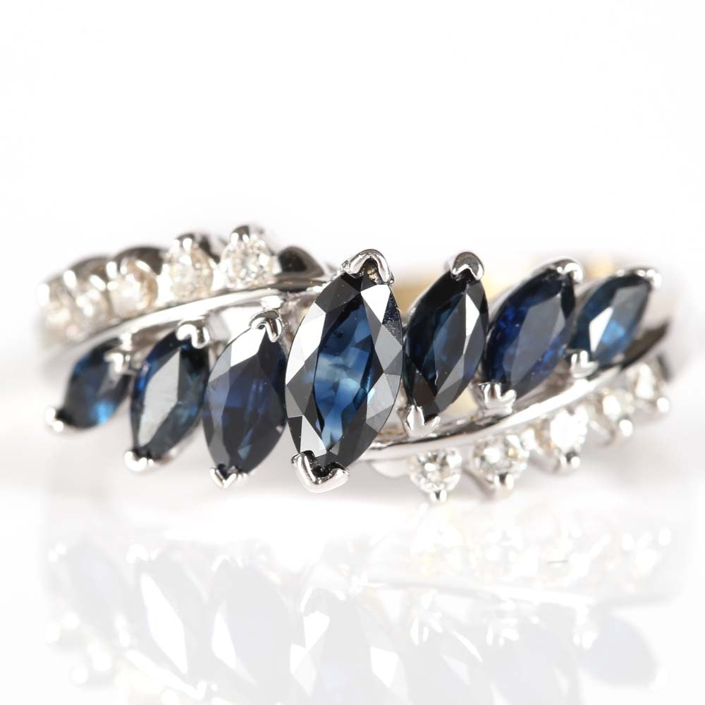 14K White Gold 1.50 CTW Sapphire and Diamond Ring