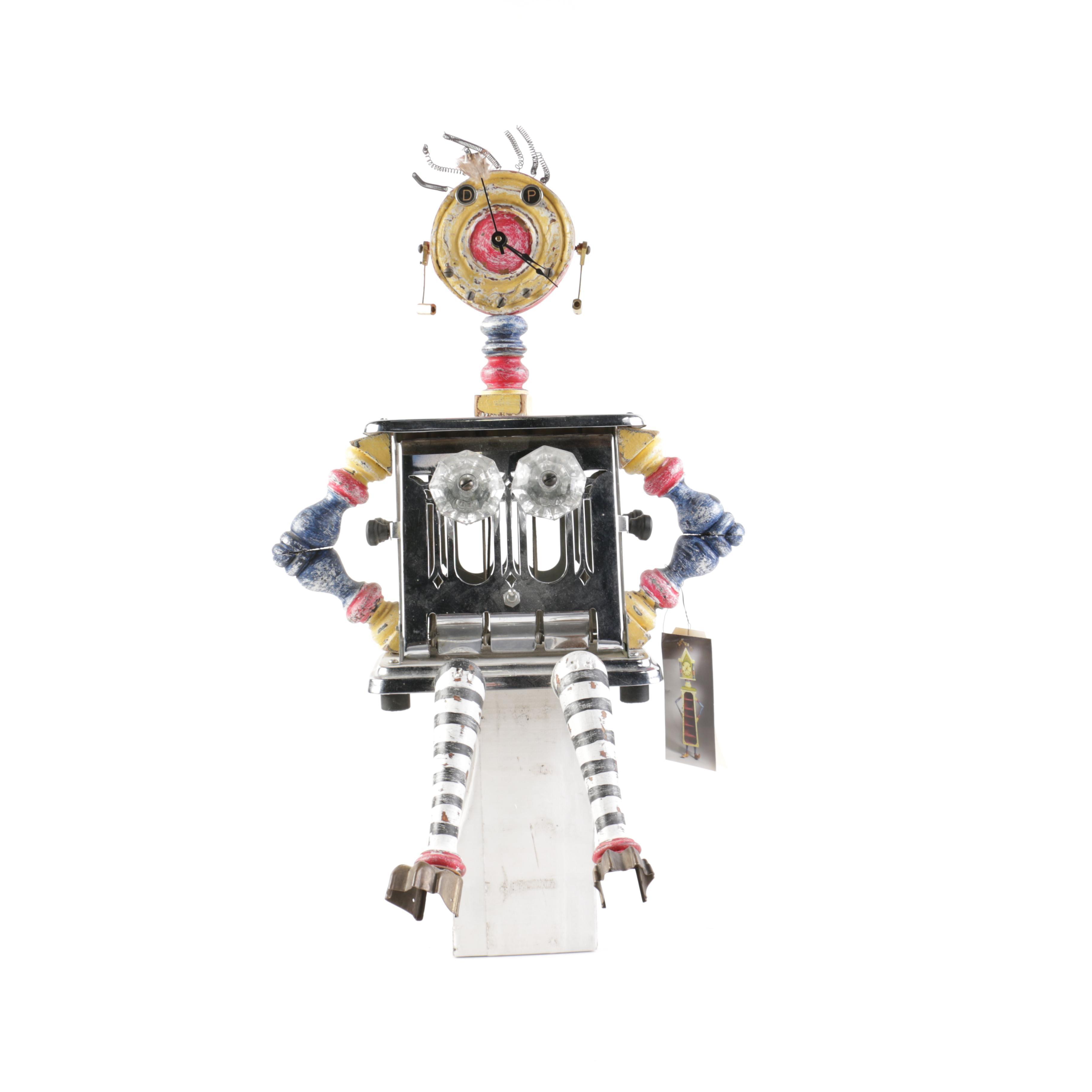 """Assembled Art Clock Sculpture Titled """"Dolly"""""""