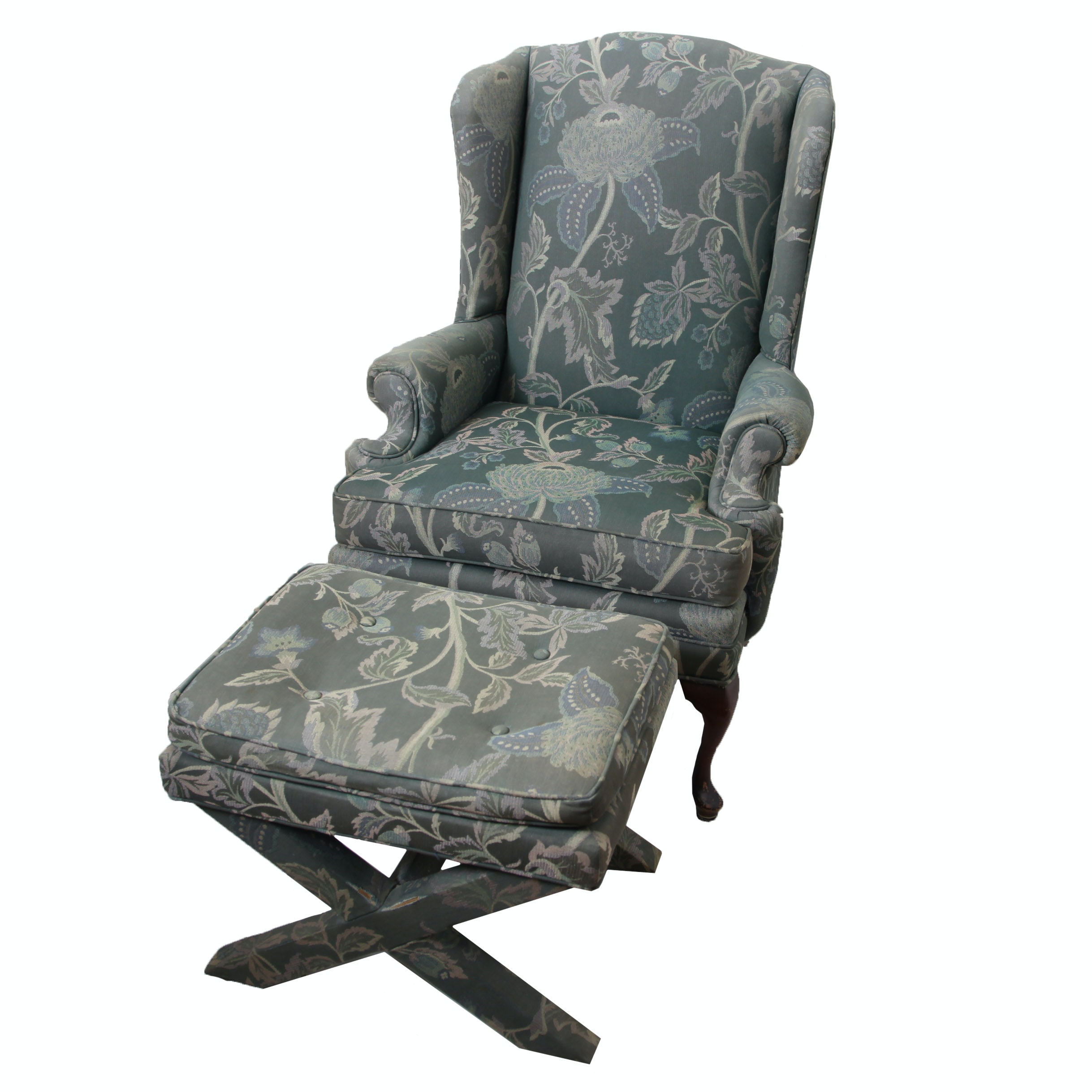 Queen Anne Style Wingback Chair with Ottoman