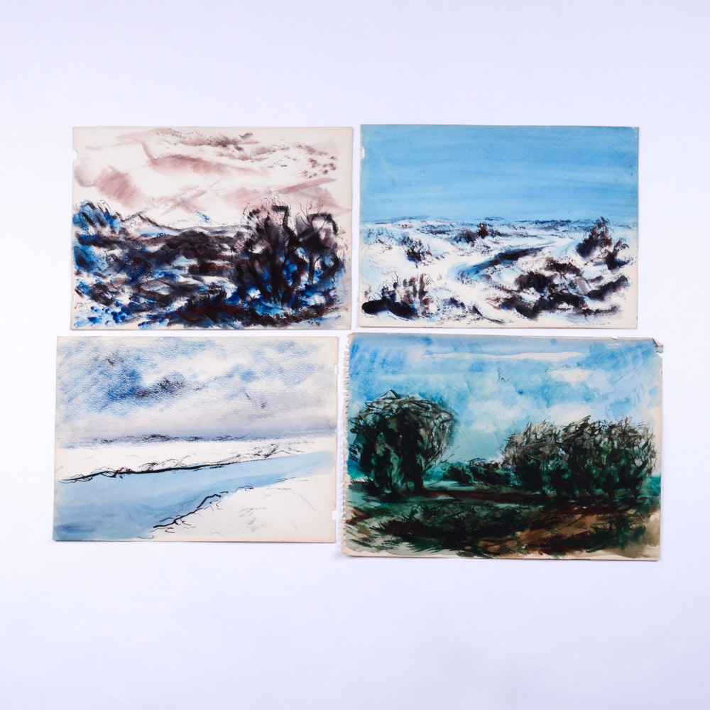 Paul Chidlaw Mixed Media Landscape Studies on Paper