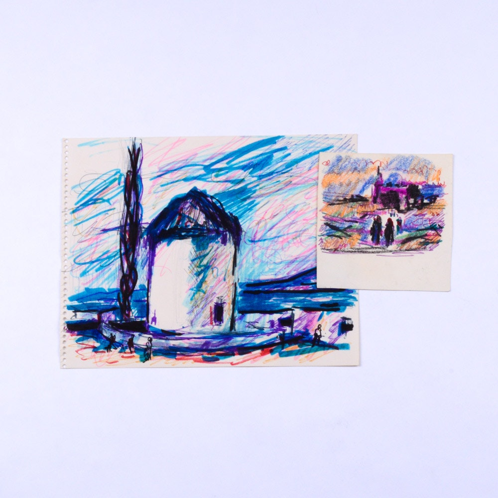 Paul Chidlaw Mixed Media on Paper Countryside Studies