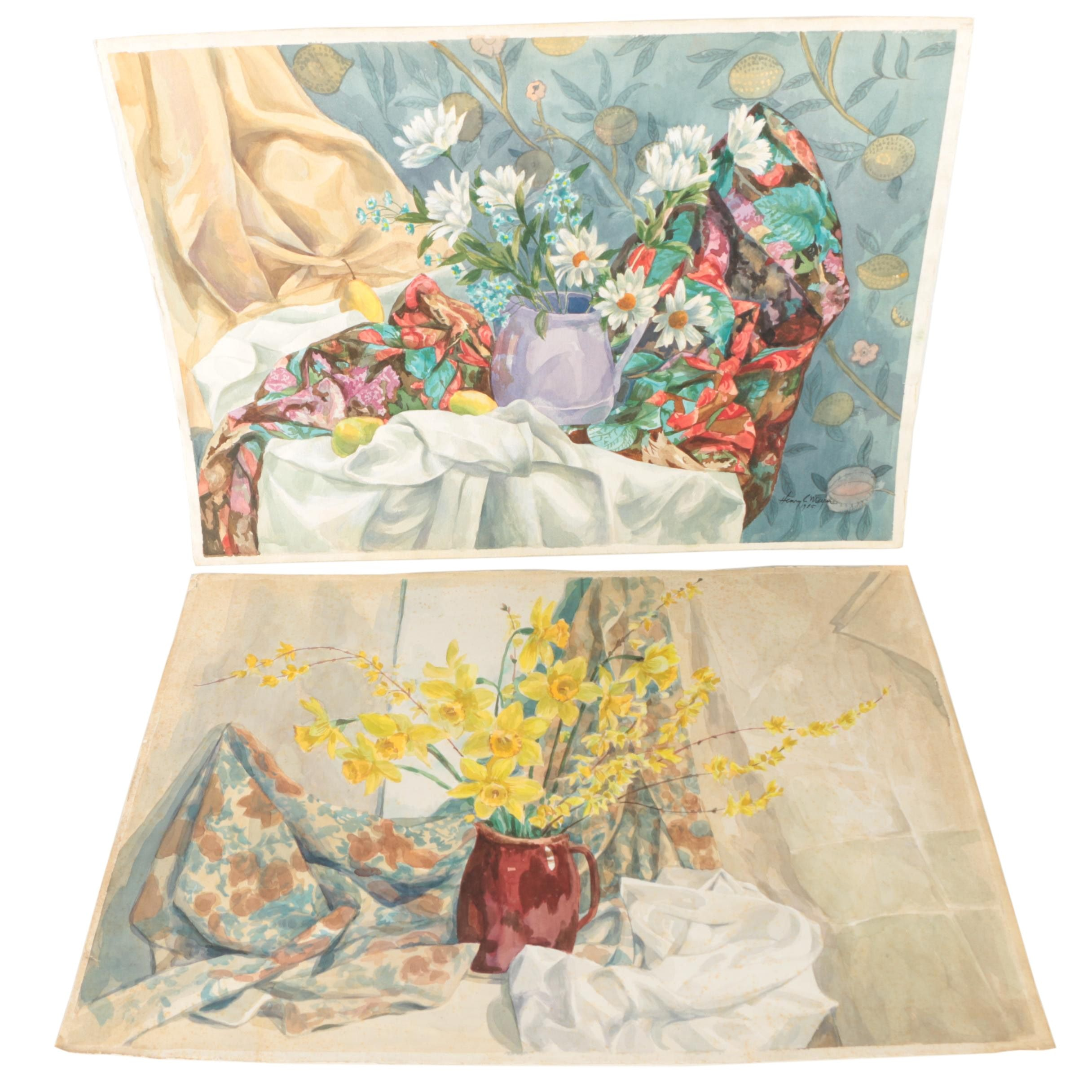 Two Henry C. Meyer Still Life Watercolor Paintings of Floral Arrangements