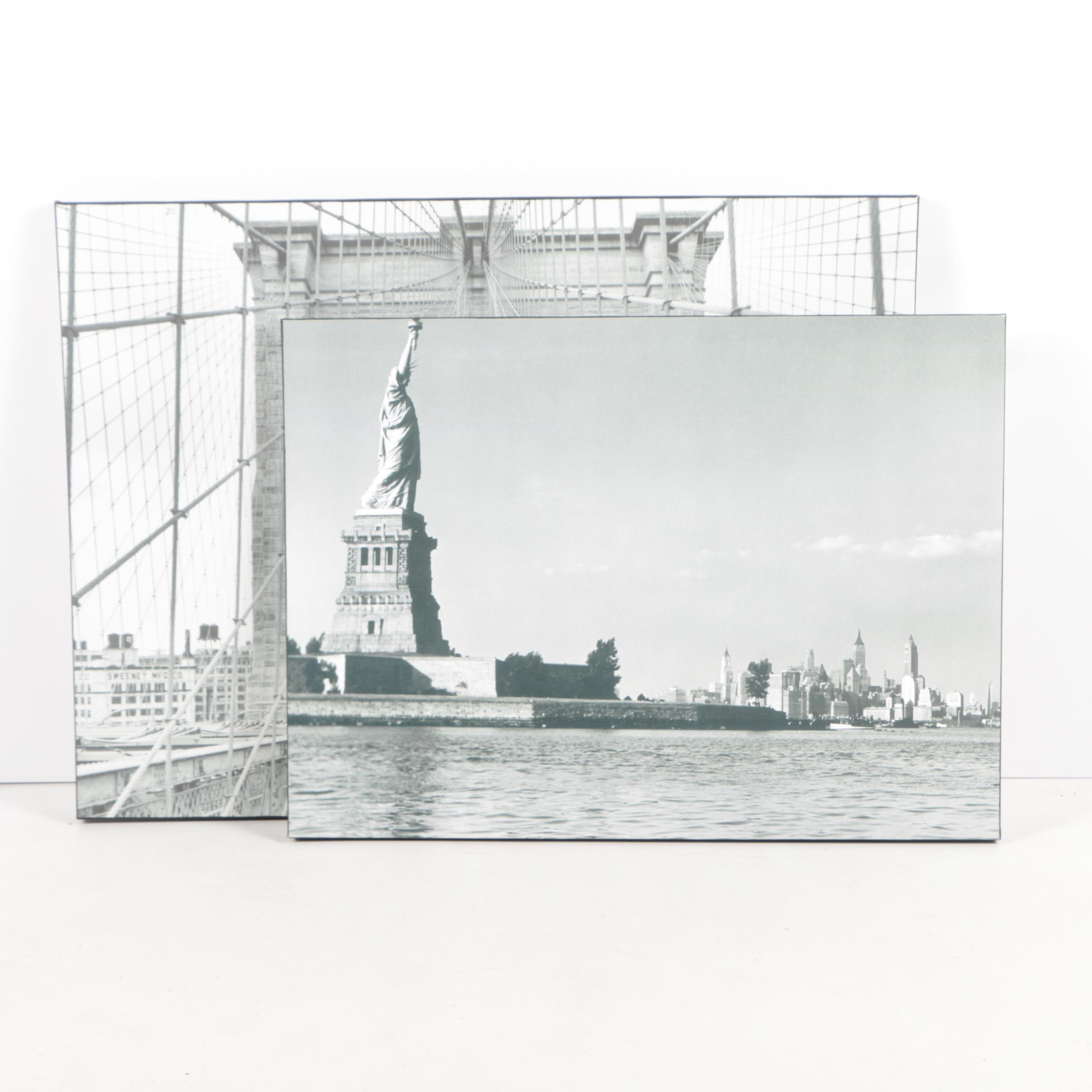 Giclée Prints on Canvas of the Statue of Liberty and the Brooklyn Bridge