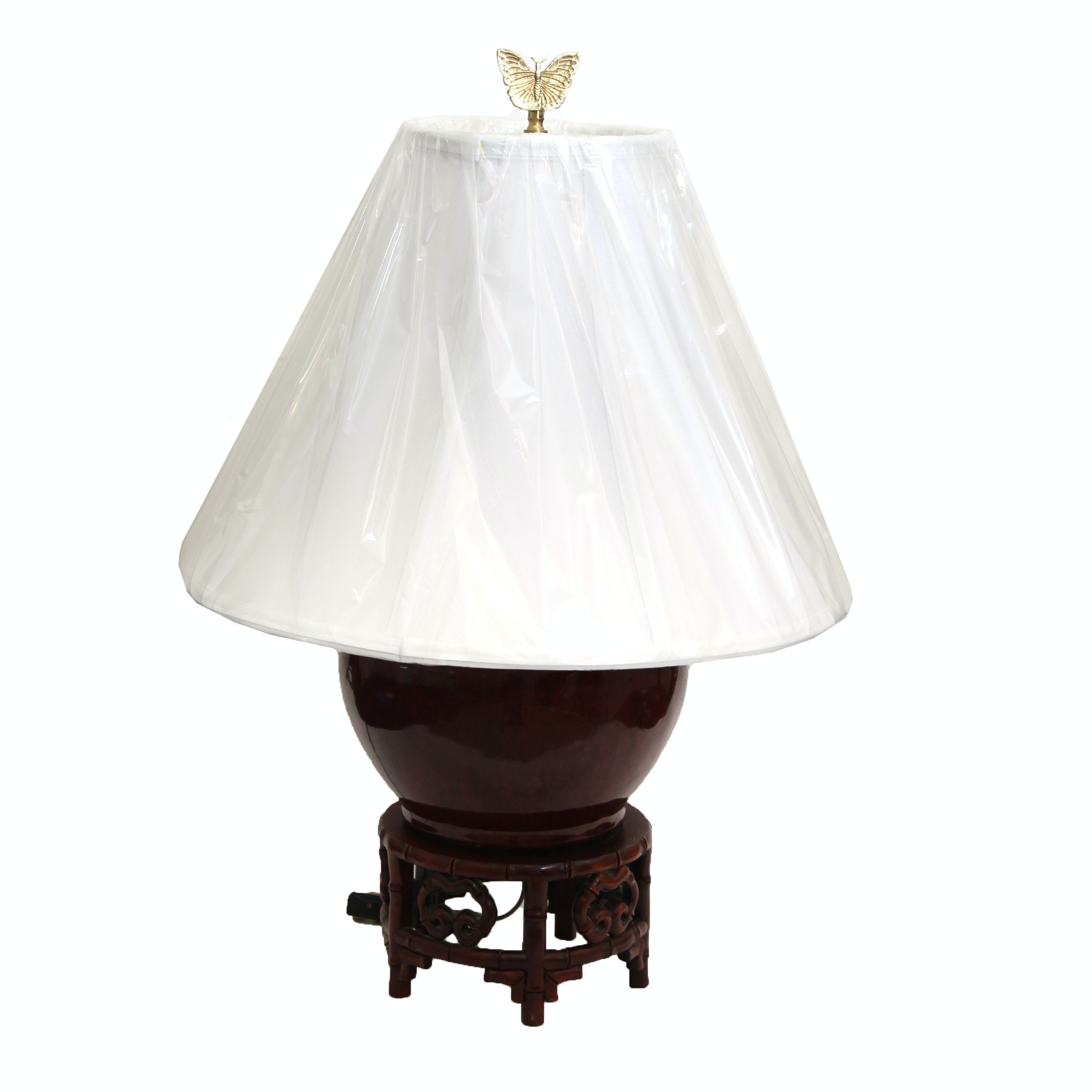 Wooden Table Lamp with Carved Base