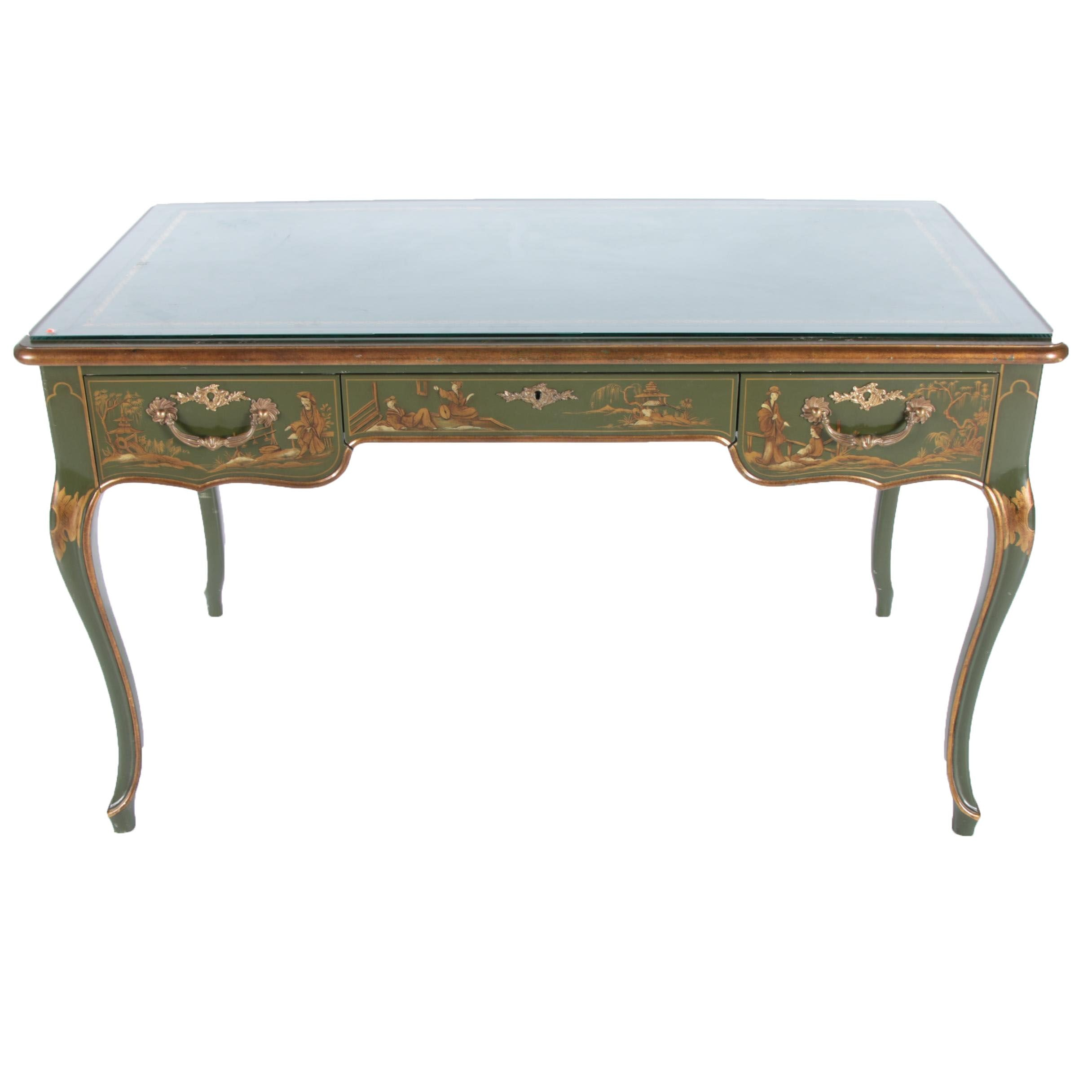 Green Chinoiserie Louis XV Style Bureau Plat by Baker Furniture
