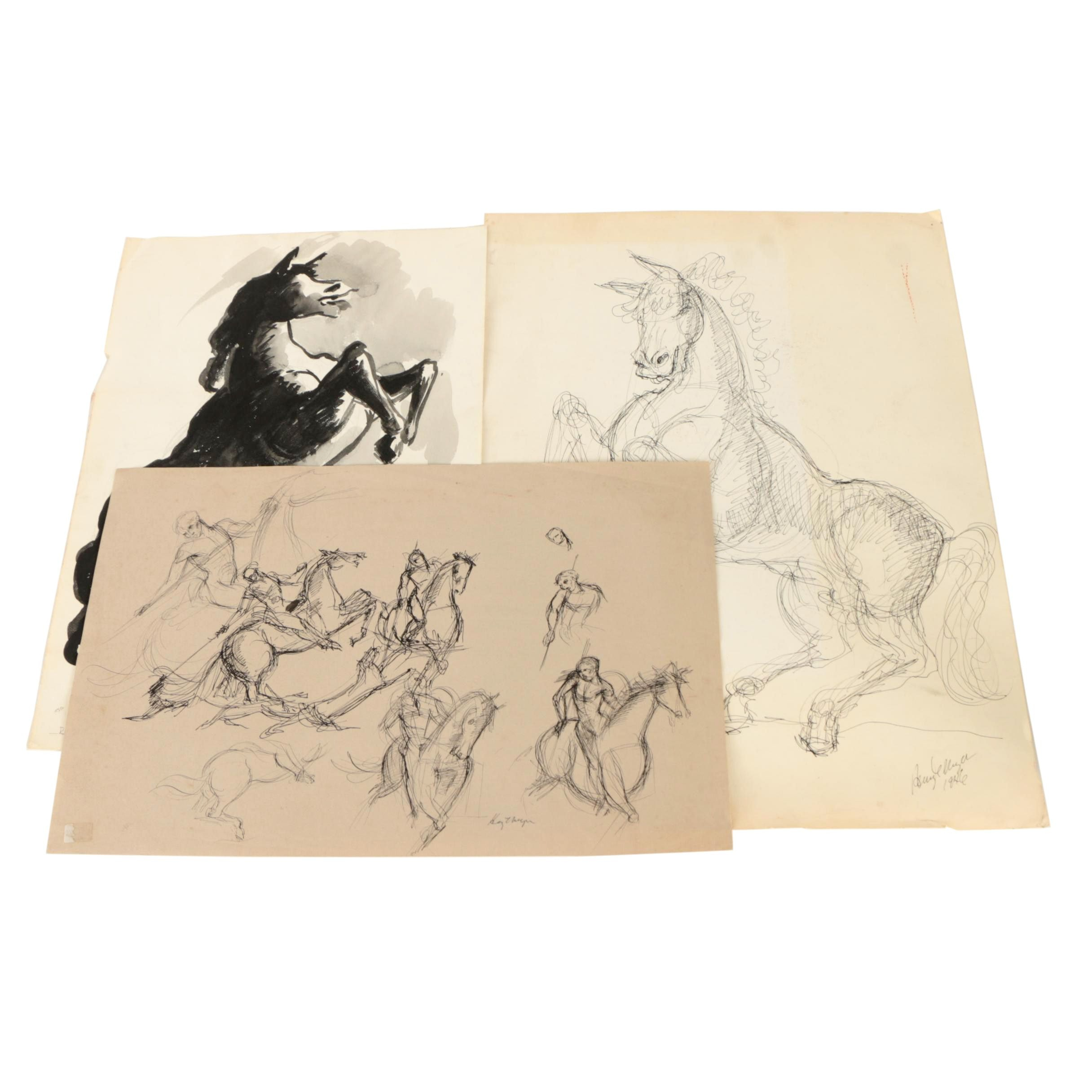 Henry C. Meyer Ink Wash and Ink Drawings of Horses