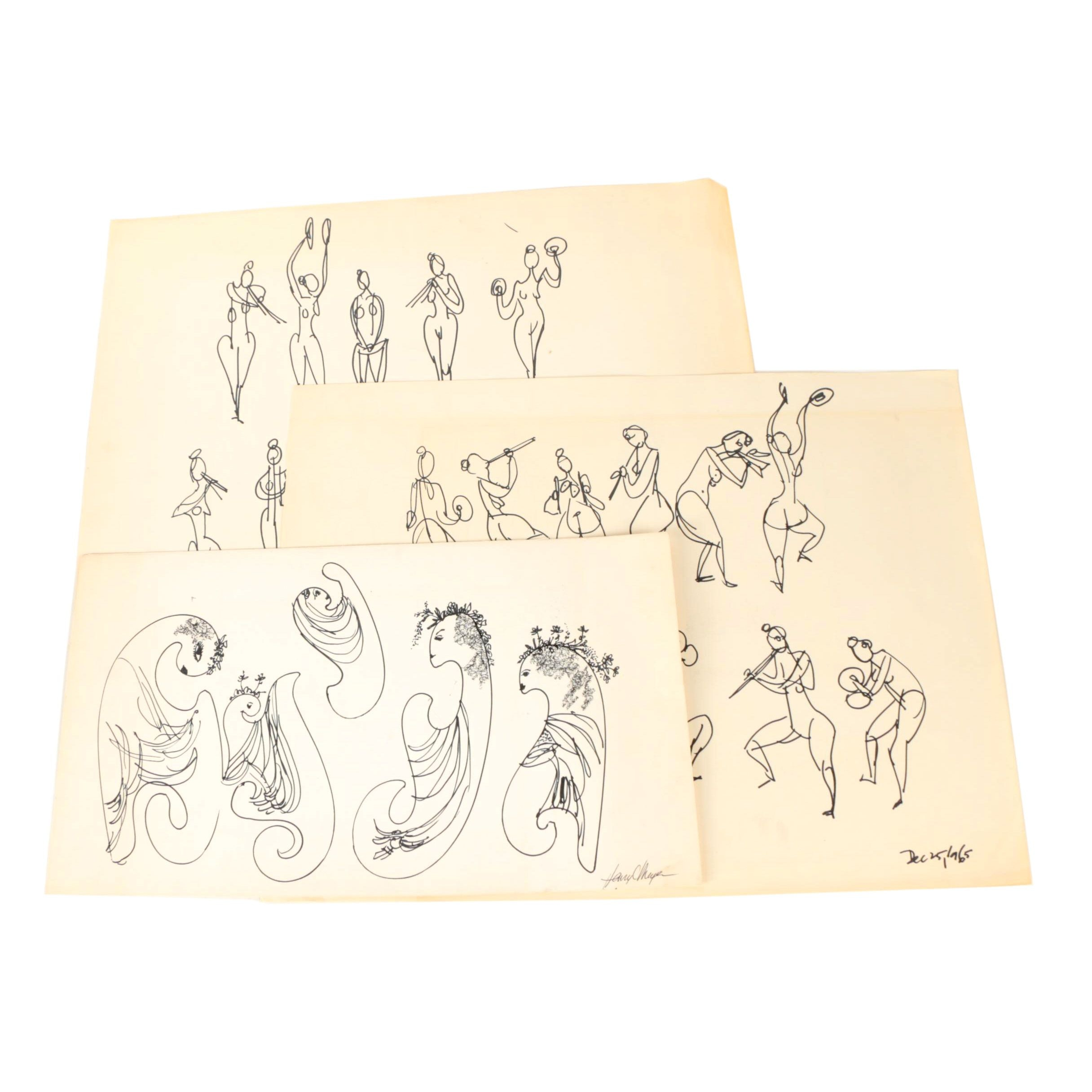 Henry C. Meyer Ink Drawings on Paper of Female Figures