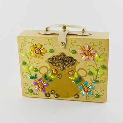 Vintage Enid Collins of Texas Pot-O-Gold Hand Decorated Wooden Box Purse