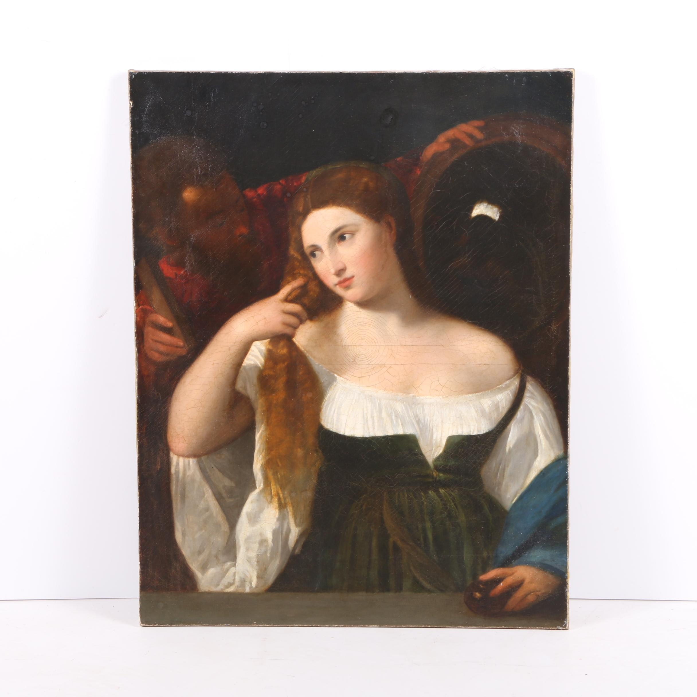 "Facsimile Oil Painting on Canvas After Titian's ""Woman with a Mirror"""