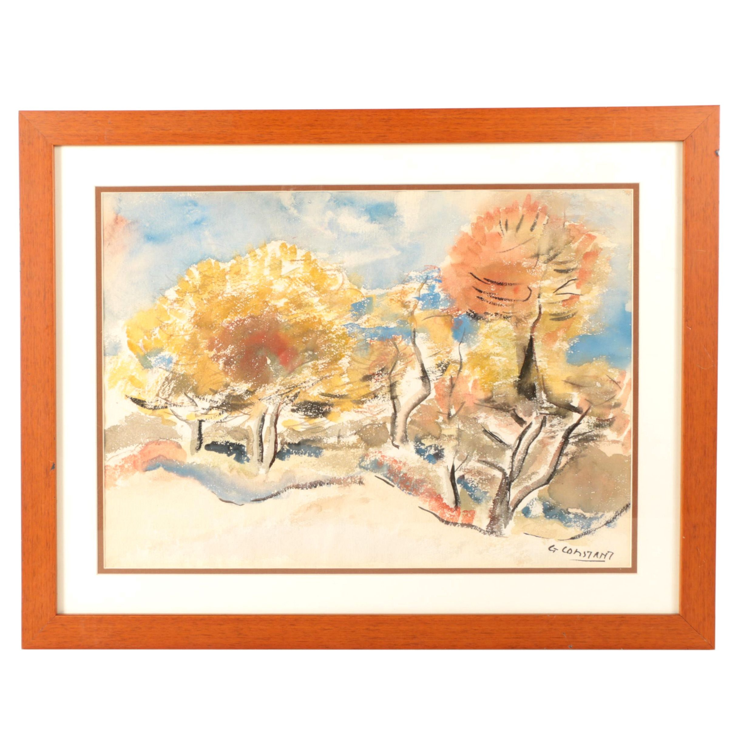 "George Constant Watercolor Painting on Paper ""Abstract Autumn Landscape"""