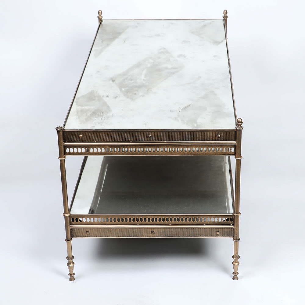 glass and brass plated metal coffee table ebth