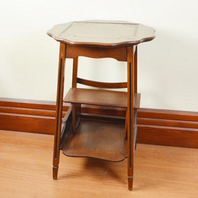 Walnut Side Table With Separate Foot Rest
