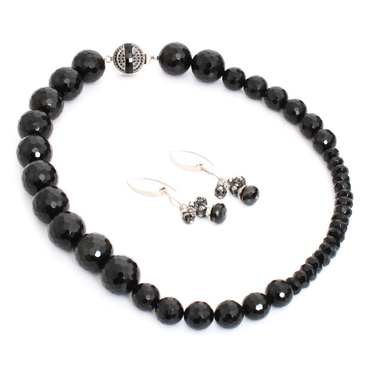 Sterling Silver Glass Beaded Necklace and Earring Set