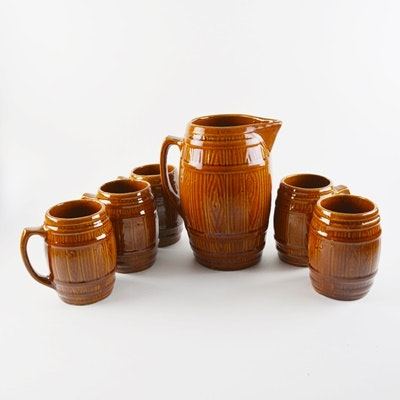Vintage Barrel Shaped Stoneware Pitcher and Mugs After Nelson McCoy