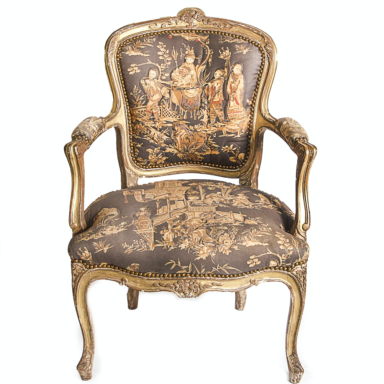Louis XV Style Giltwood Fauteuil with Chinoiserie Fabric