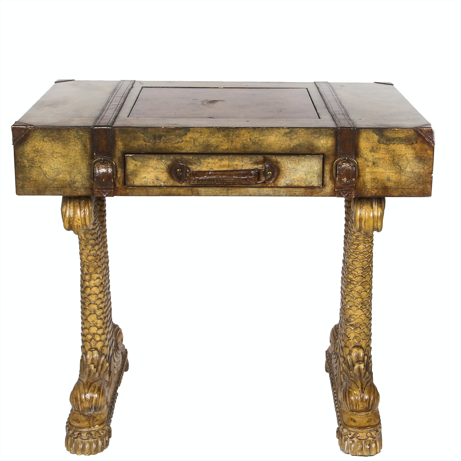 Suitcase Style Game Table With Antiqued Map Finish