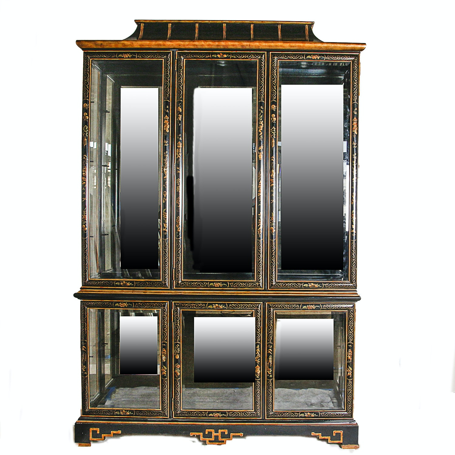 East Asian-Inspired Lighted China Cabinet
