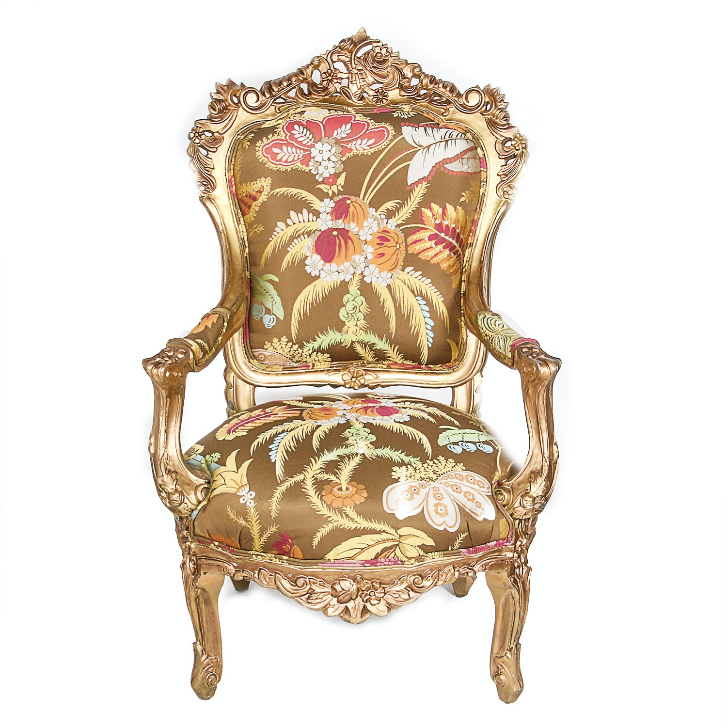 Rococo Style Giltwood Fauteuil Chair
