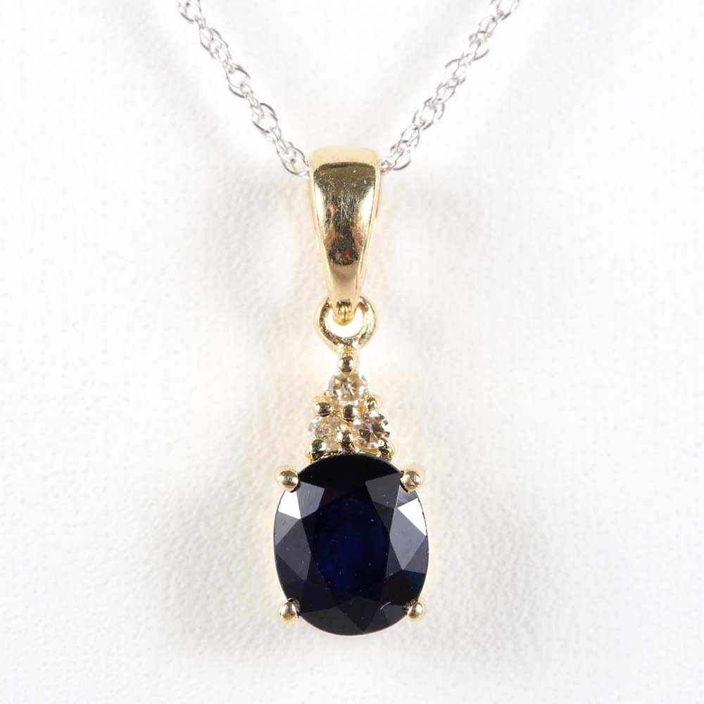 14K Yellow Gold Sapphire and Diamond Pendant Necklace