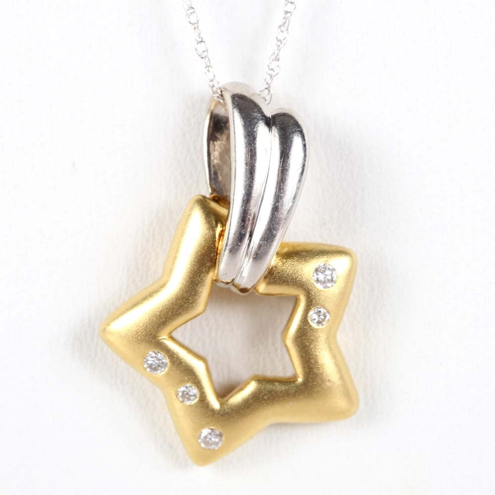 Platinum and 18K Yellow Gold Diamond Pendant on 10K White Gold Chain