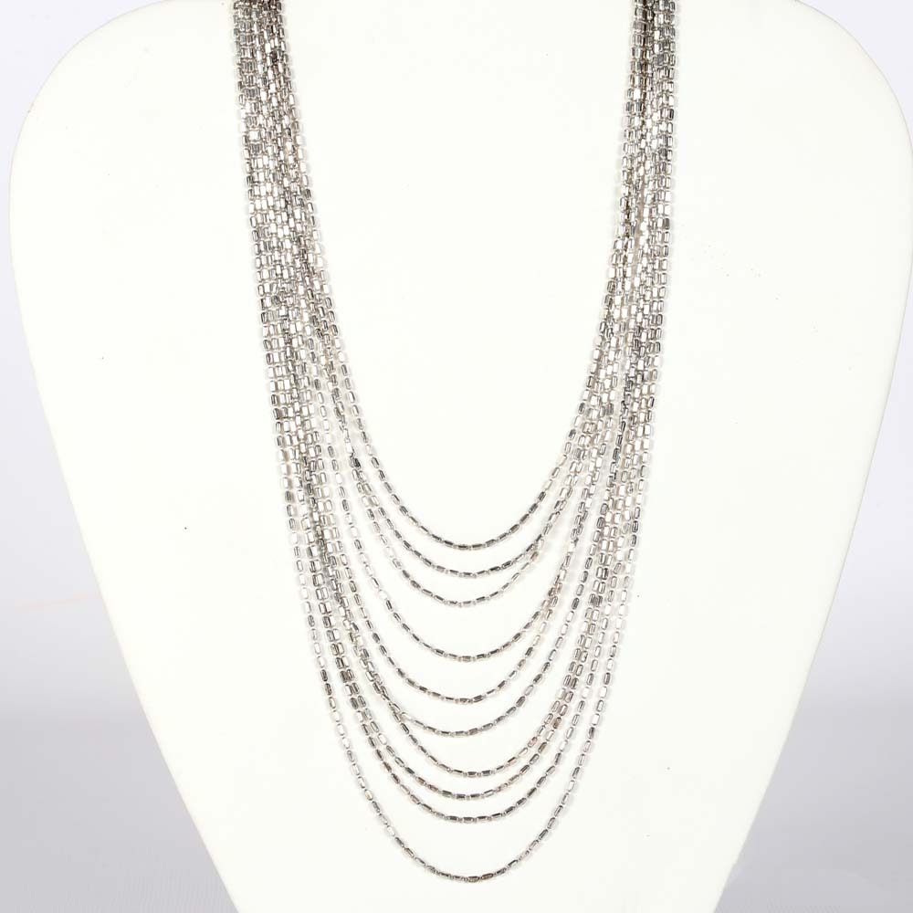 Sterling Silver Tapered Beaded Necklace