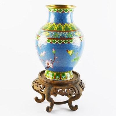 Enamel Painted Metal Vase