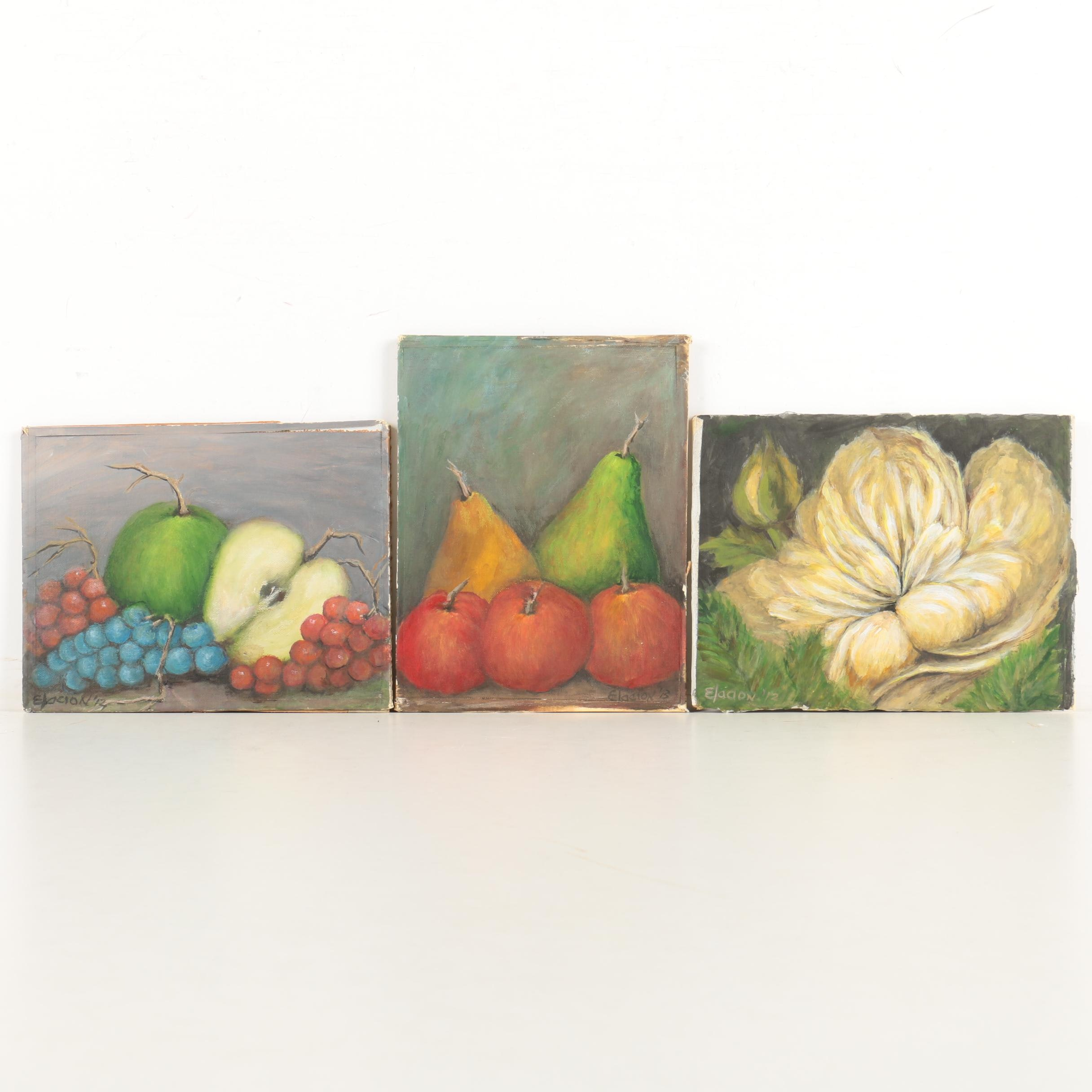 Three Anthony S. Elacion Still Life Oil Paintings on Board