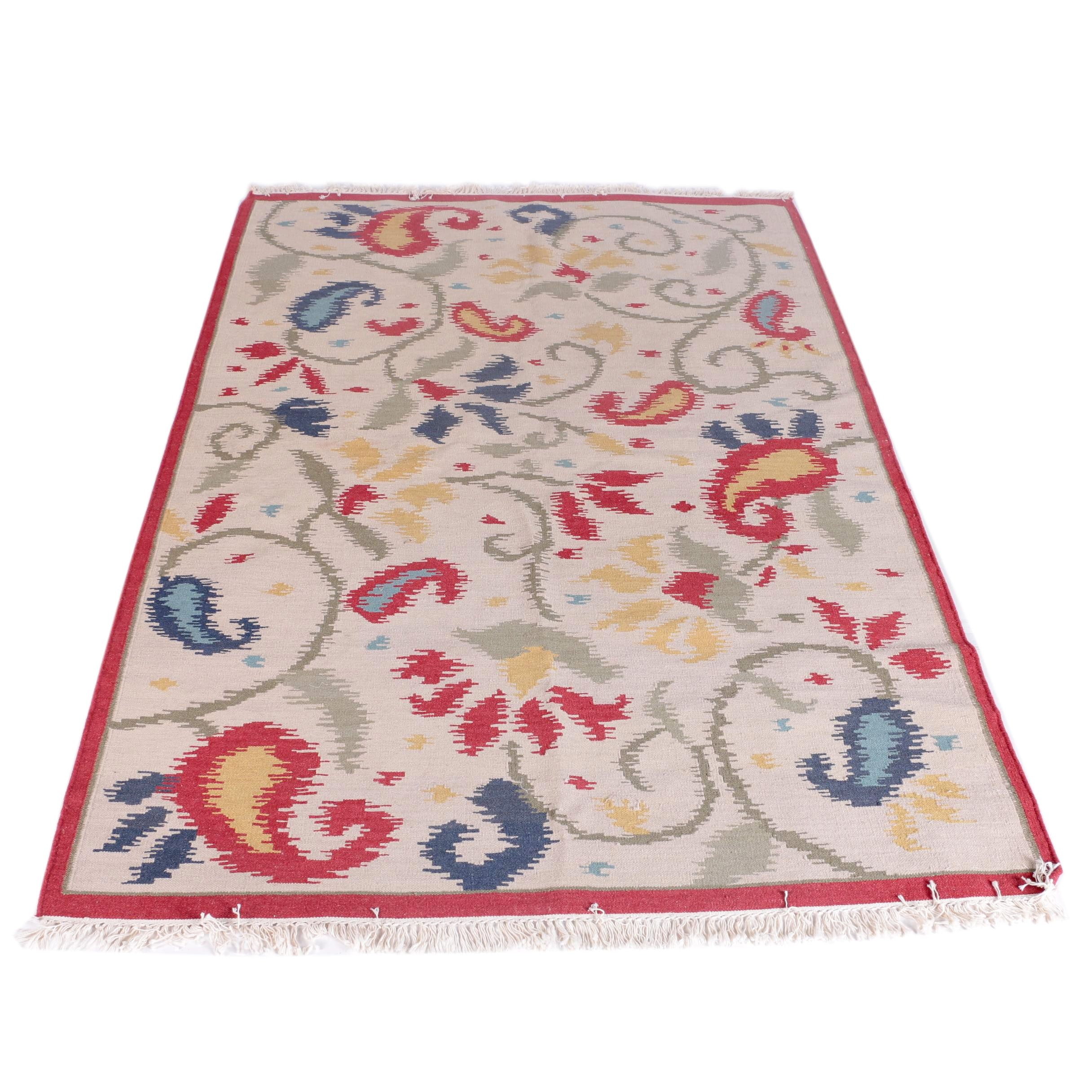 "Handwoven Pottery Barn Wool and Cotton ""Paisley Dhurrie"" Rug"