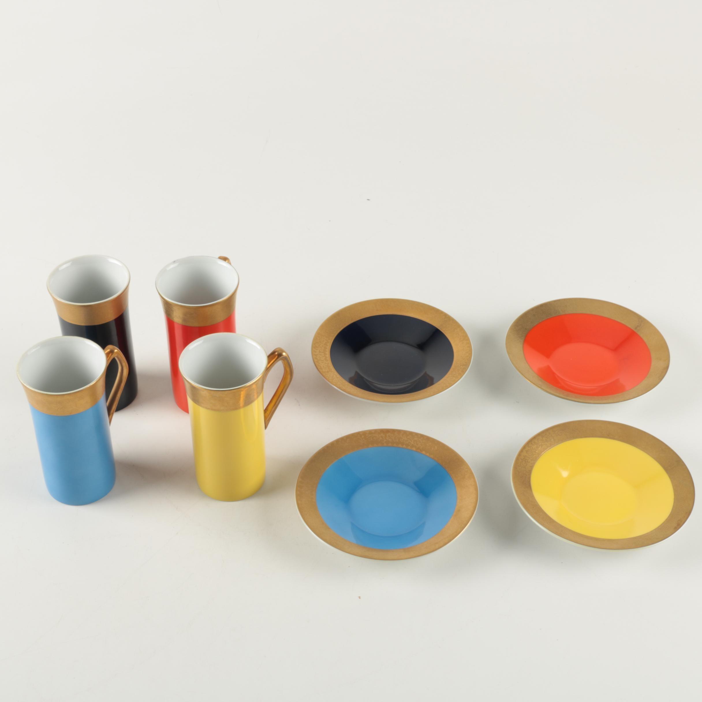 Fine China Japan Porcelain Mugs and Saucers