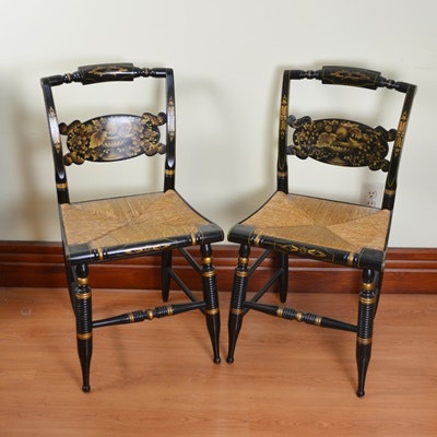 L. Hitchcock Turtle Back Rush Seat Parlor Chairs