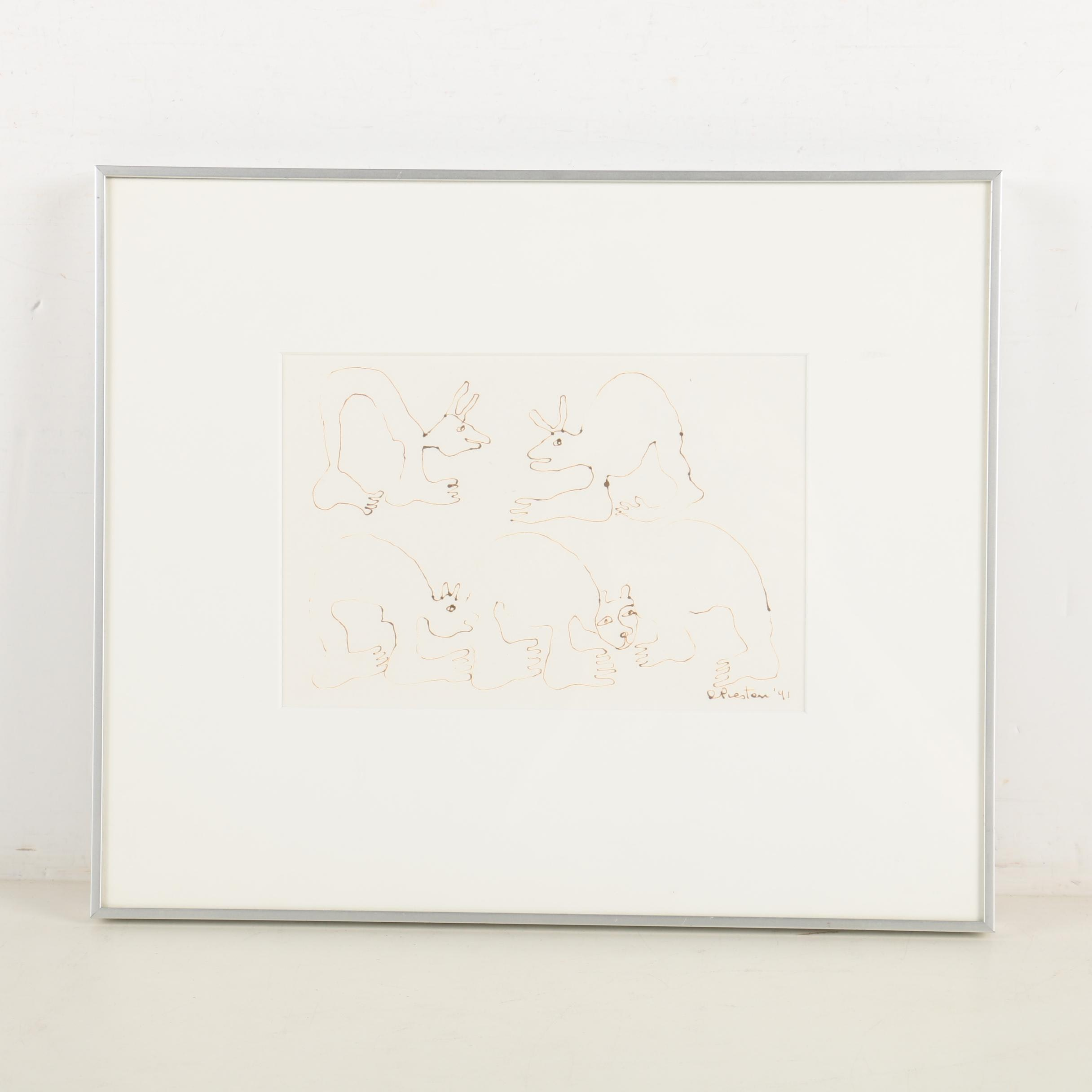 Dorothy Preston Ink Drawing on Paper of Abstracted Animals
