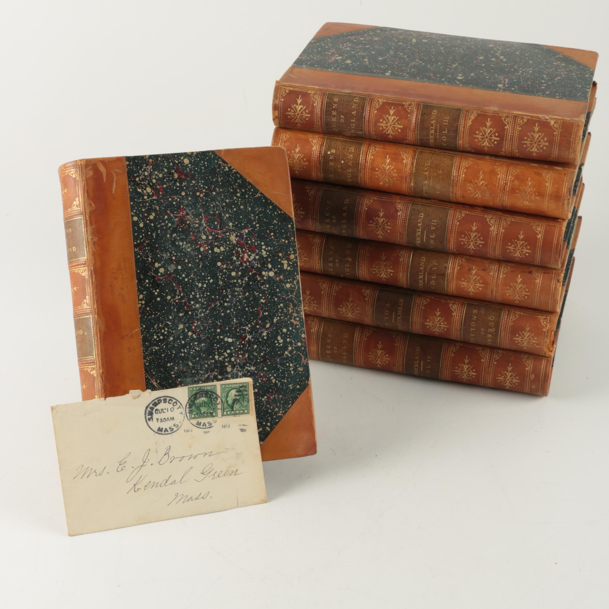 """Seven Volumes from """"The Queens of England"""" Series by Agnes Strickland"""