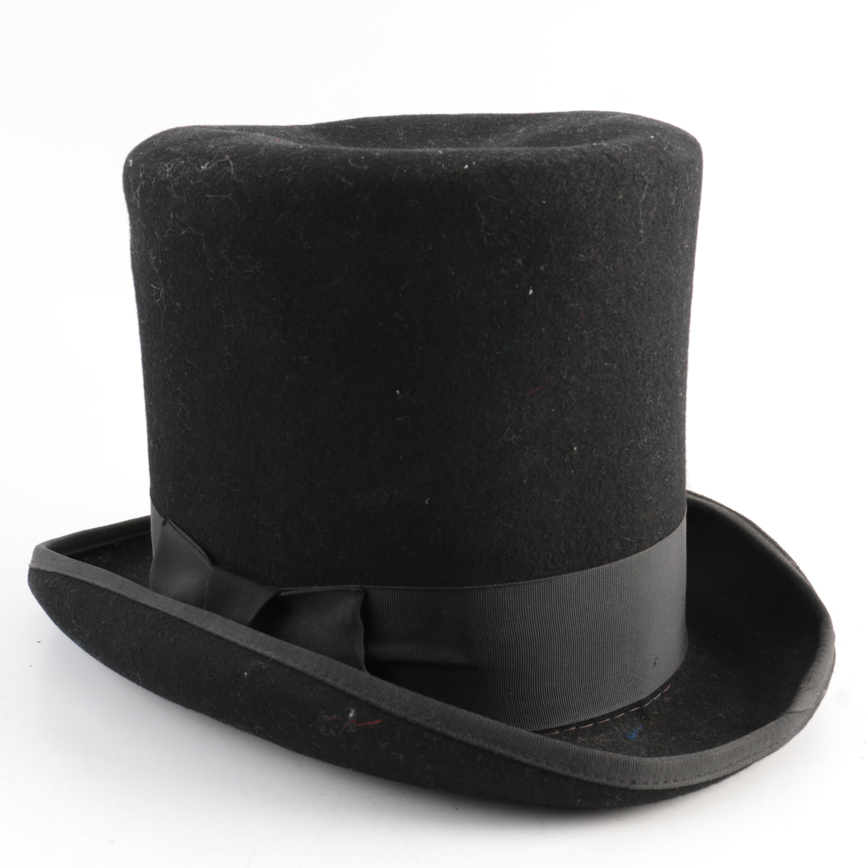 Vintage Madhatters Black Felt Top Hat