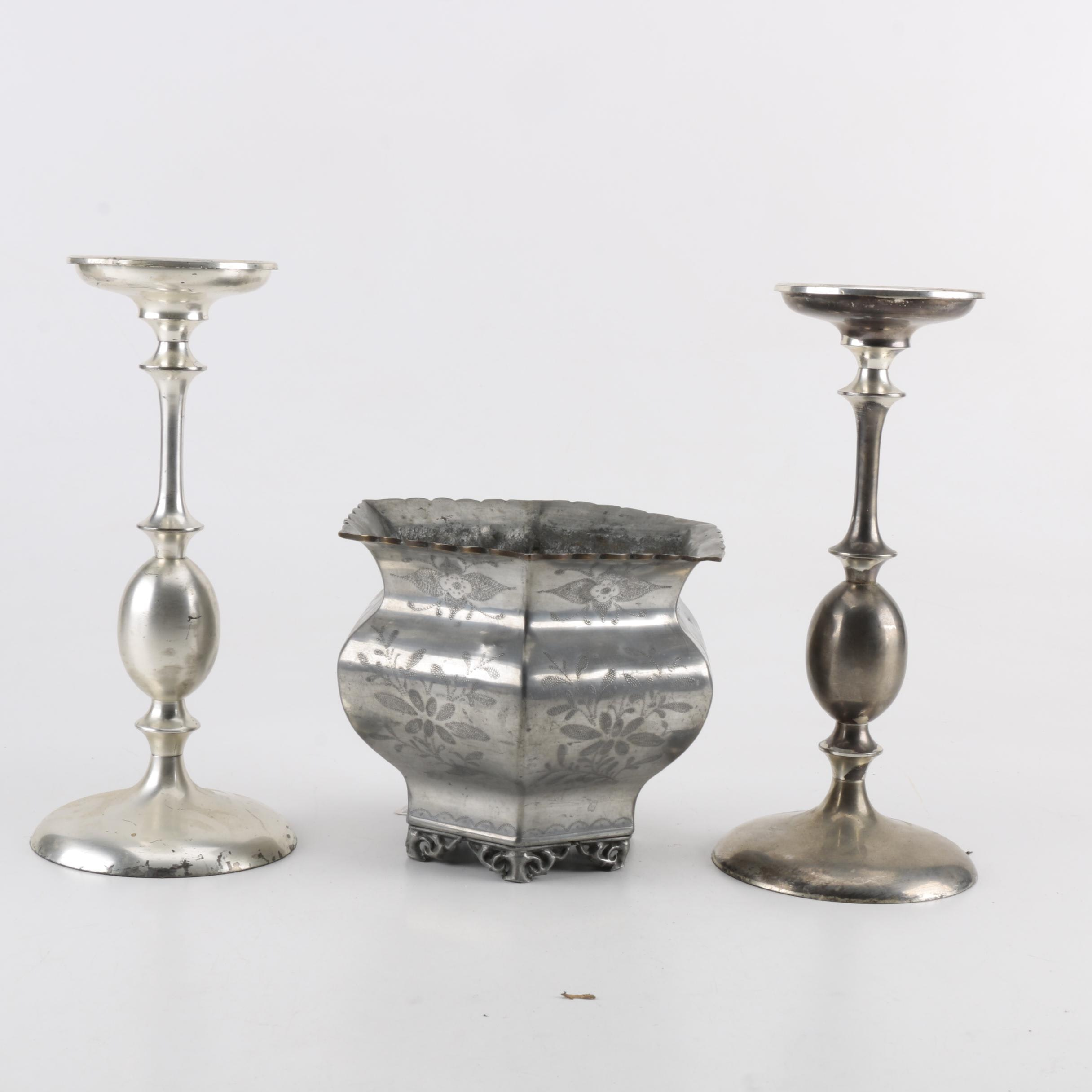 Etched Chinese Pewter Cachepot and Silver Toned Candlholders