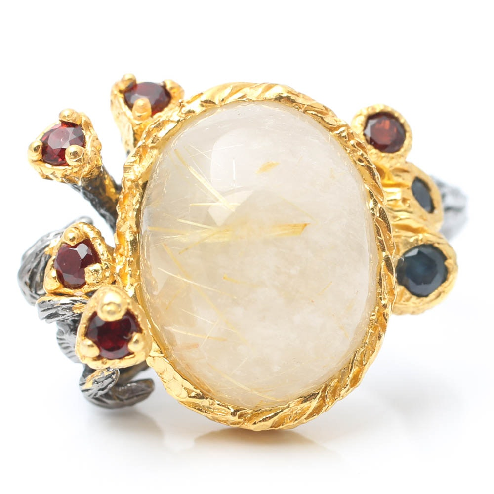 Blackened Sterling Silver Branch Ring with Rutilated Quartz, Sapphire and Garnet