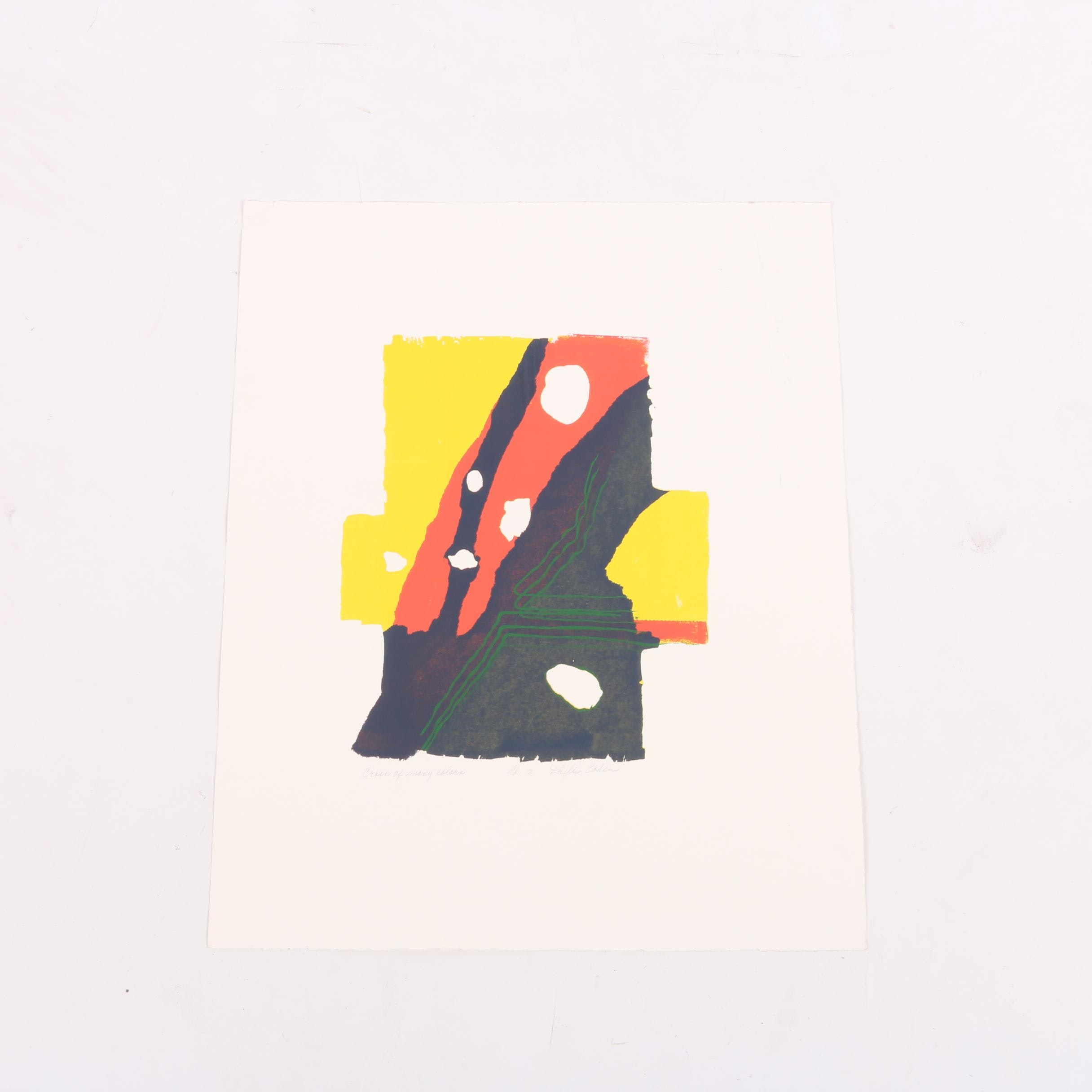 "Phyllis Cohen Limited Edition Serigraph on Paper ""Cross of Many Colors"""