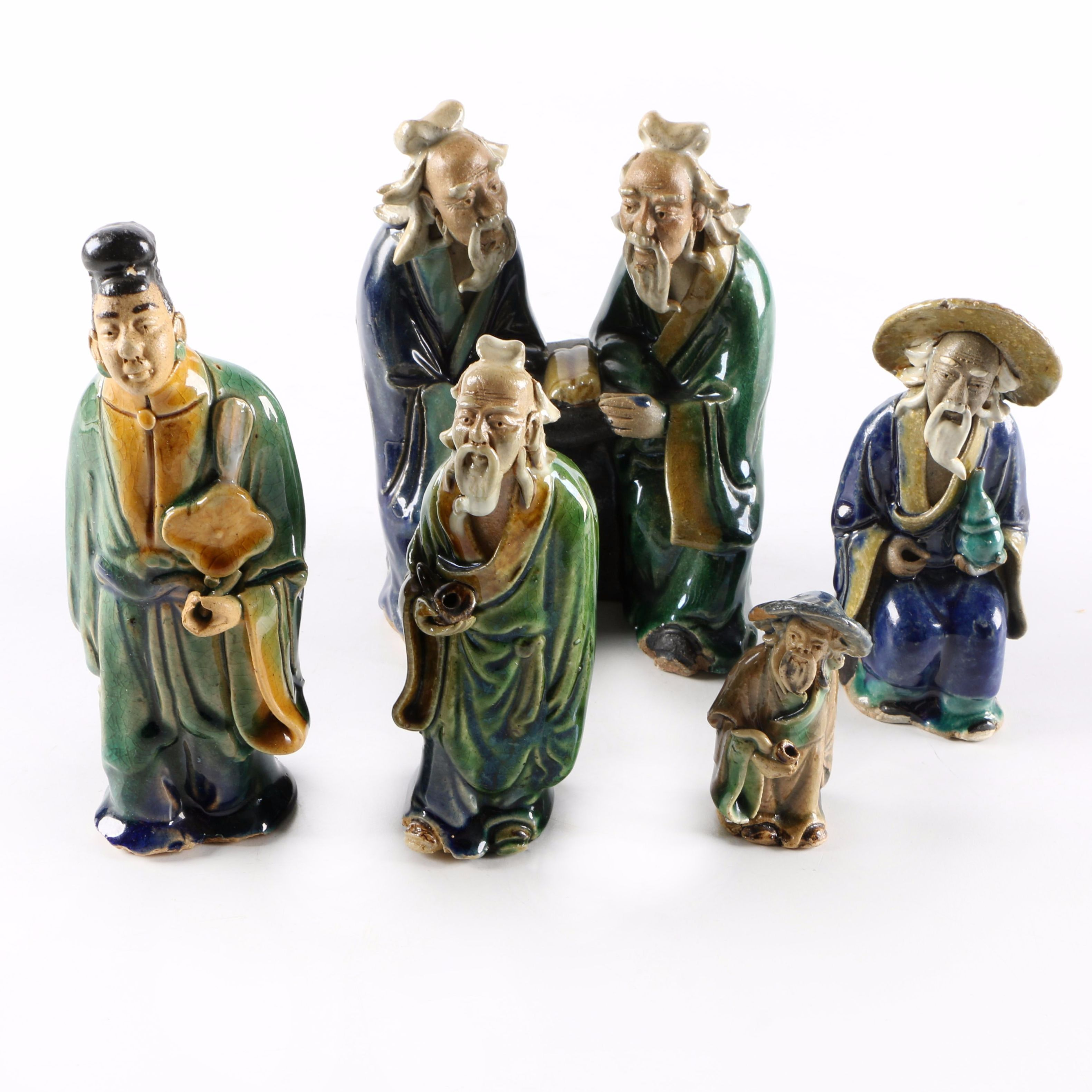 Chinese Shiwan Ware Ceramic Figurine Assortment