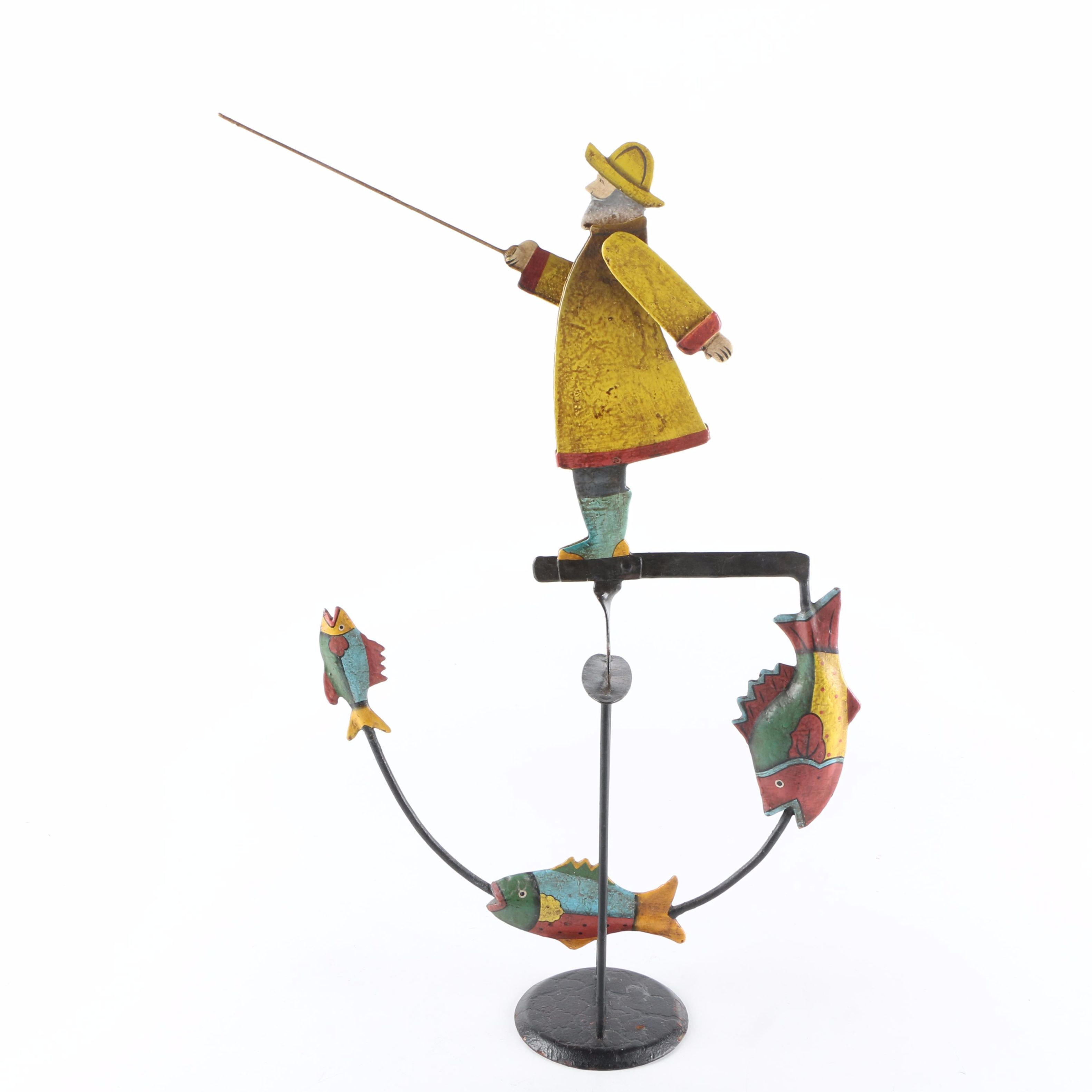 Fishing Themed Metal Kinetic Sculpture