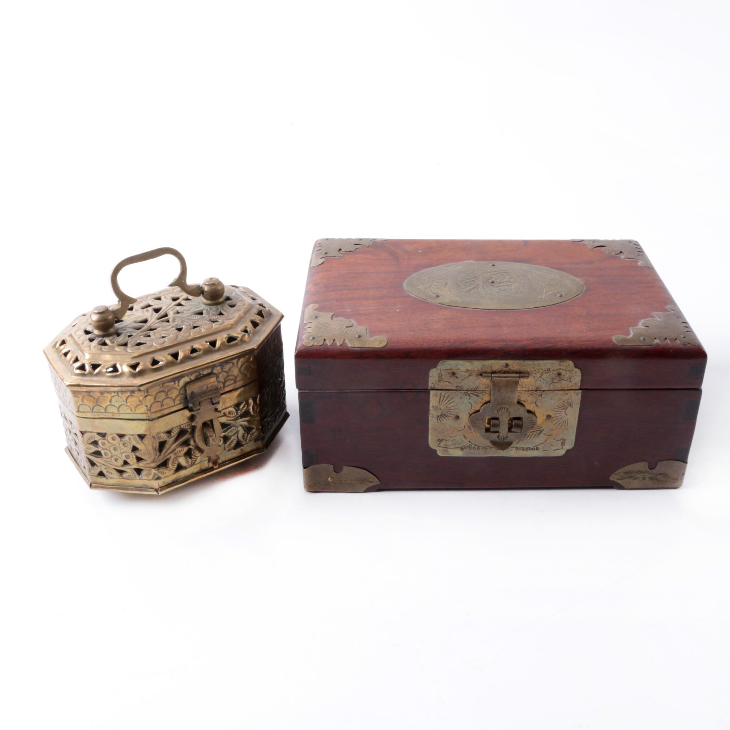 East Asian Handcrafted Brass and Wooden Boxes