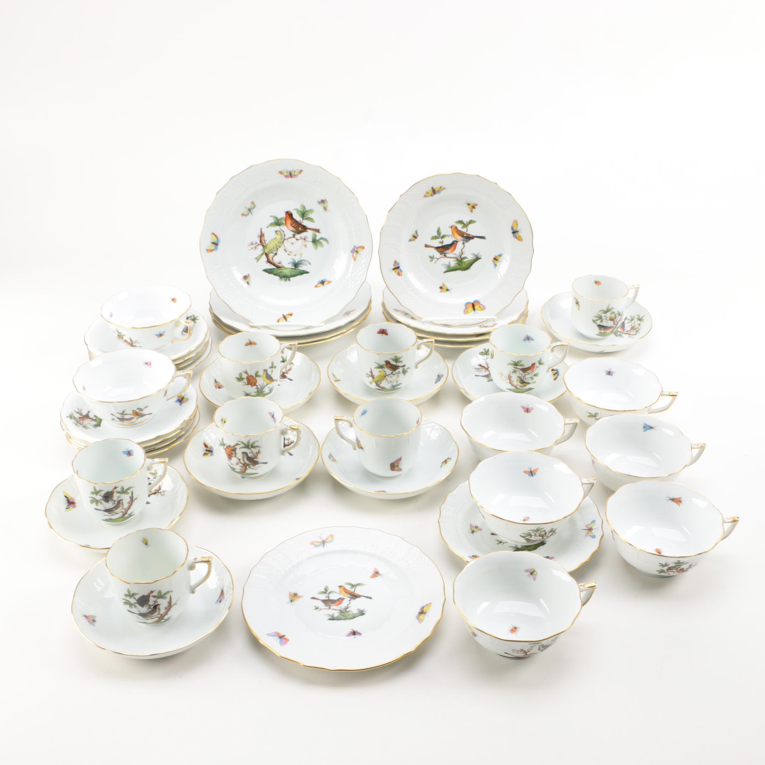 "Early 20th Century Herend ""Rothschild Bird"" Porcelain Tableware"