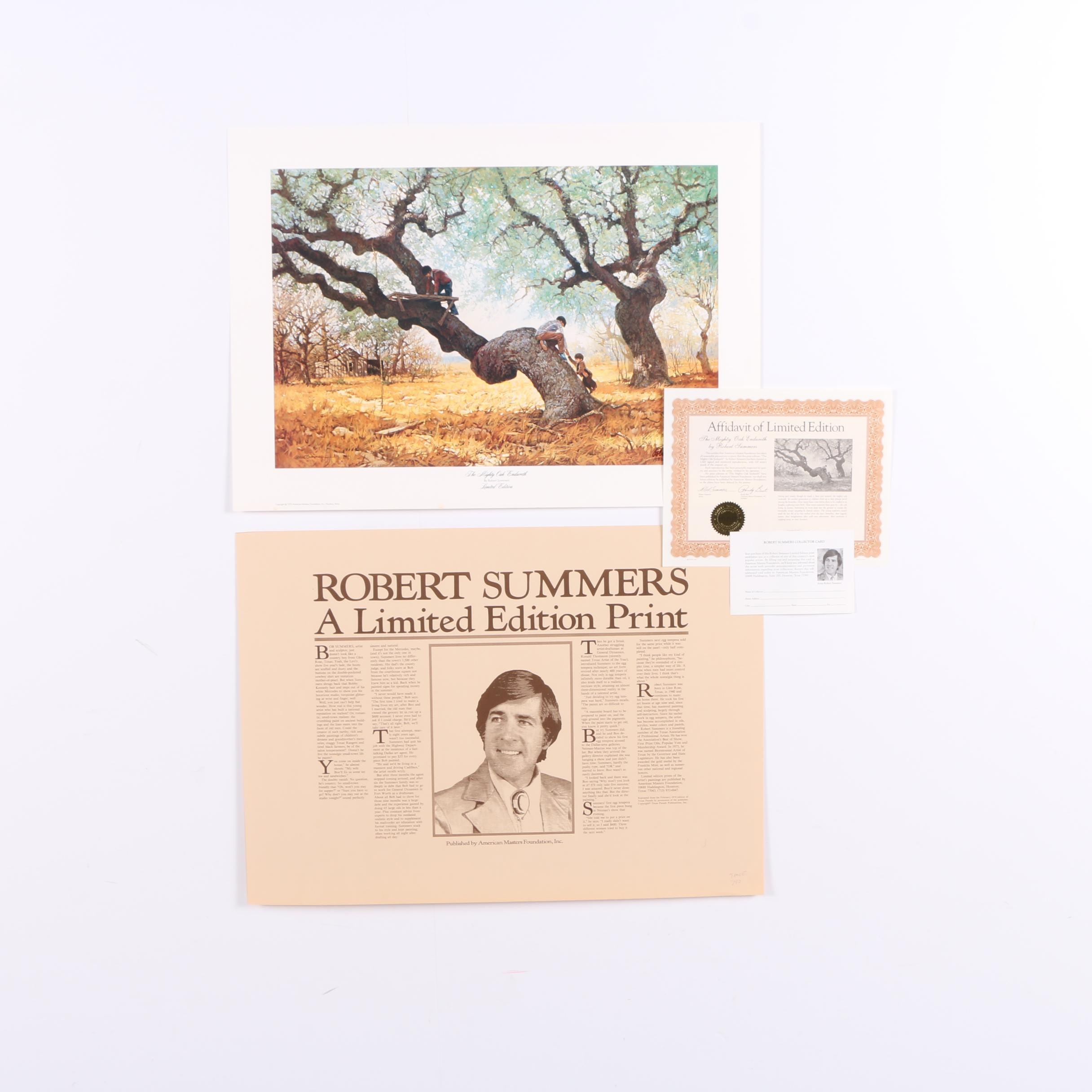 "Robert Summers 1979 Limited Edition Offset Lithograph ""The Mighty Oak Endureth"""
