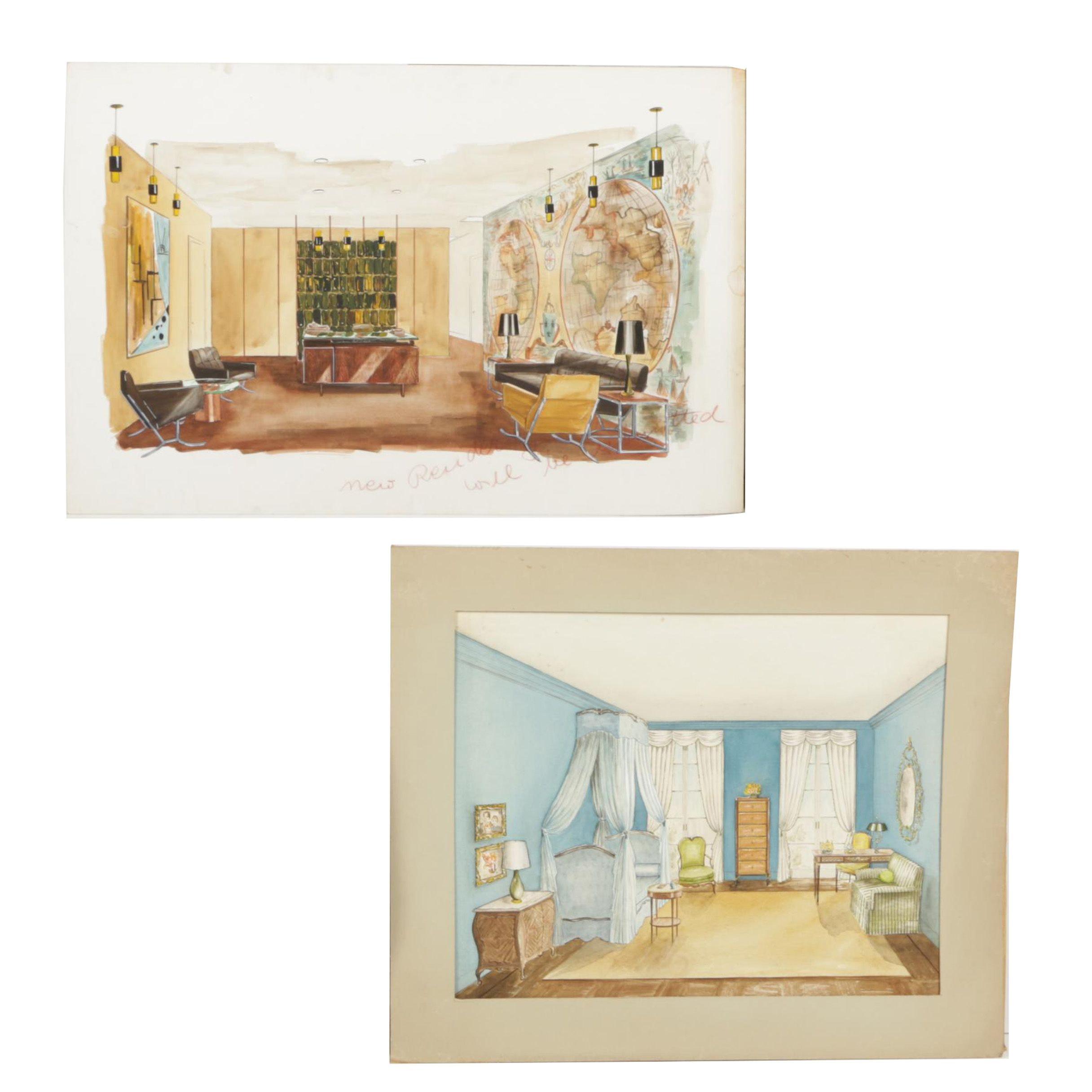 Pair of Mixed Media Interior Renderings on Illustration Board