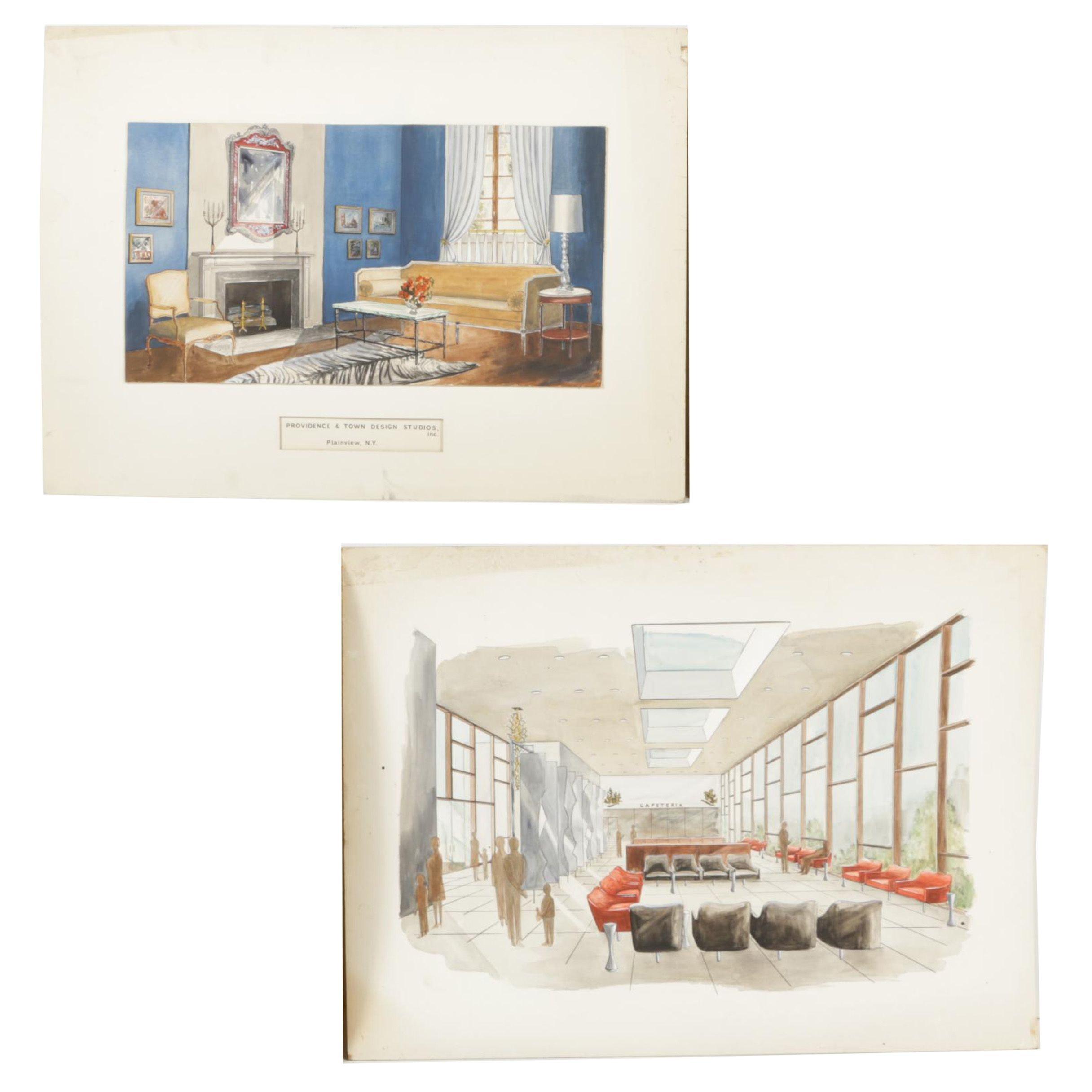 Pair of Mixed Media Mid-Century Modern Interior Renderings on Illustration Board