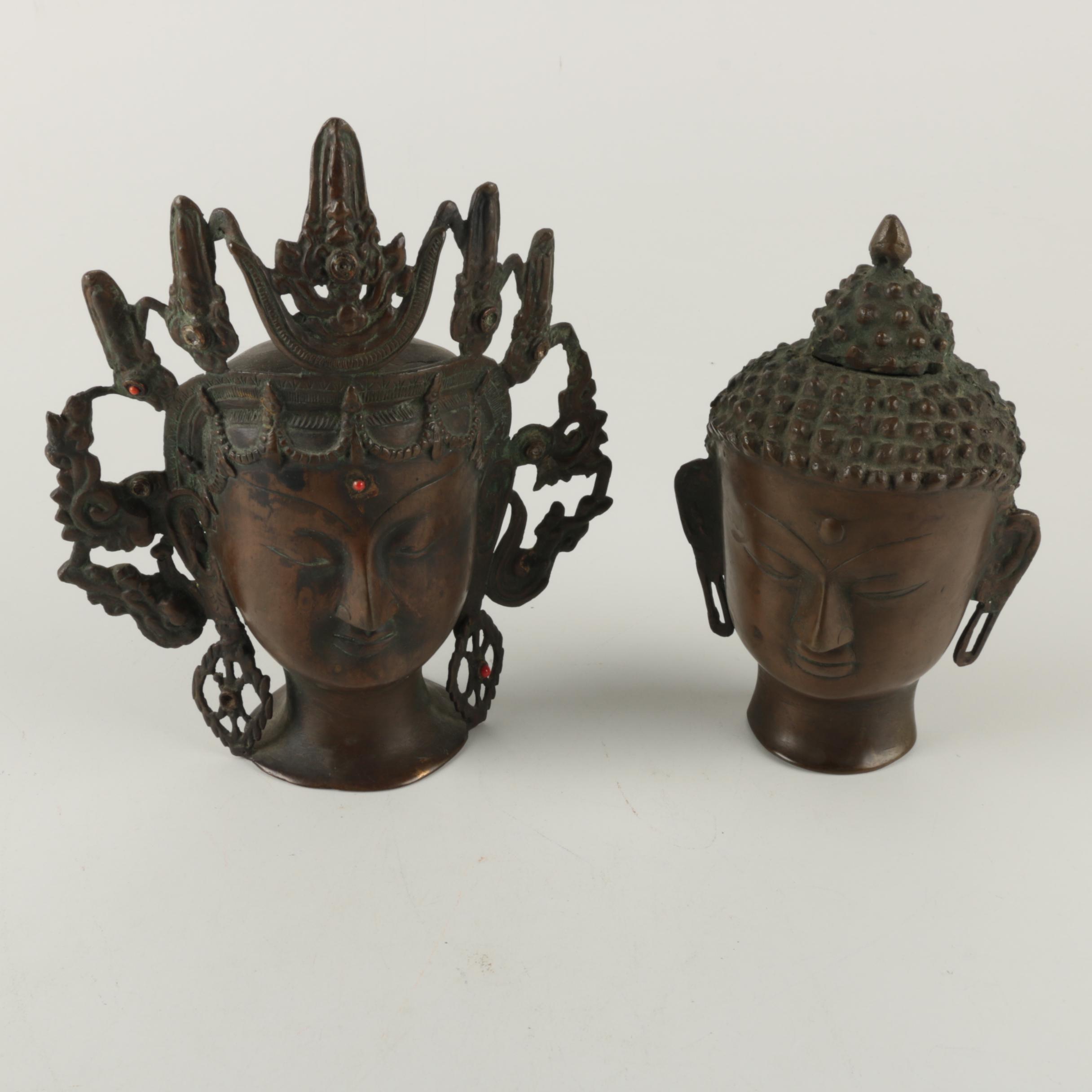 Thai Bronze Buddha Head and Female Deity Figurines