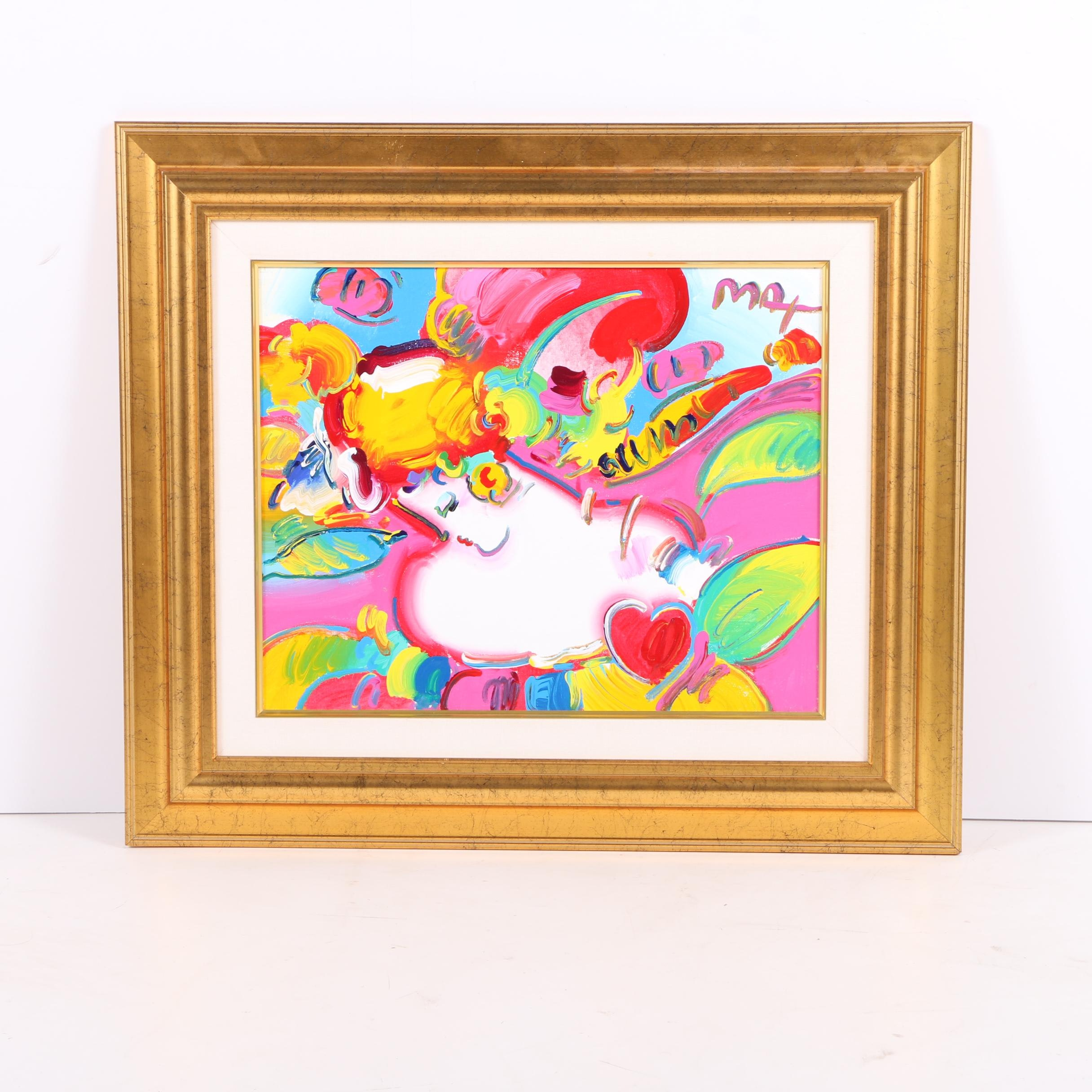 """Peter Max 2001 Acrylic Painting on Canvas """"Flower Blossom Lady Detail"""""""