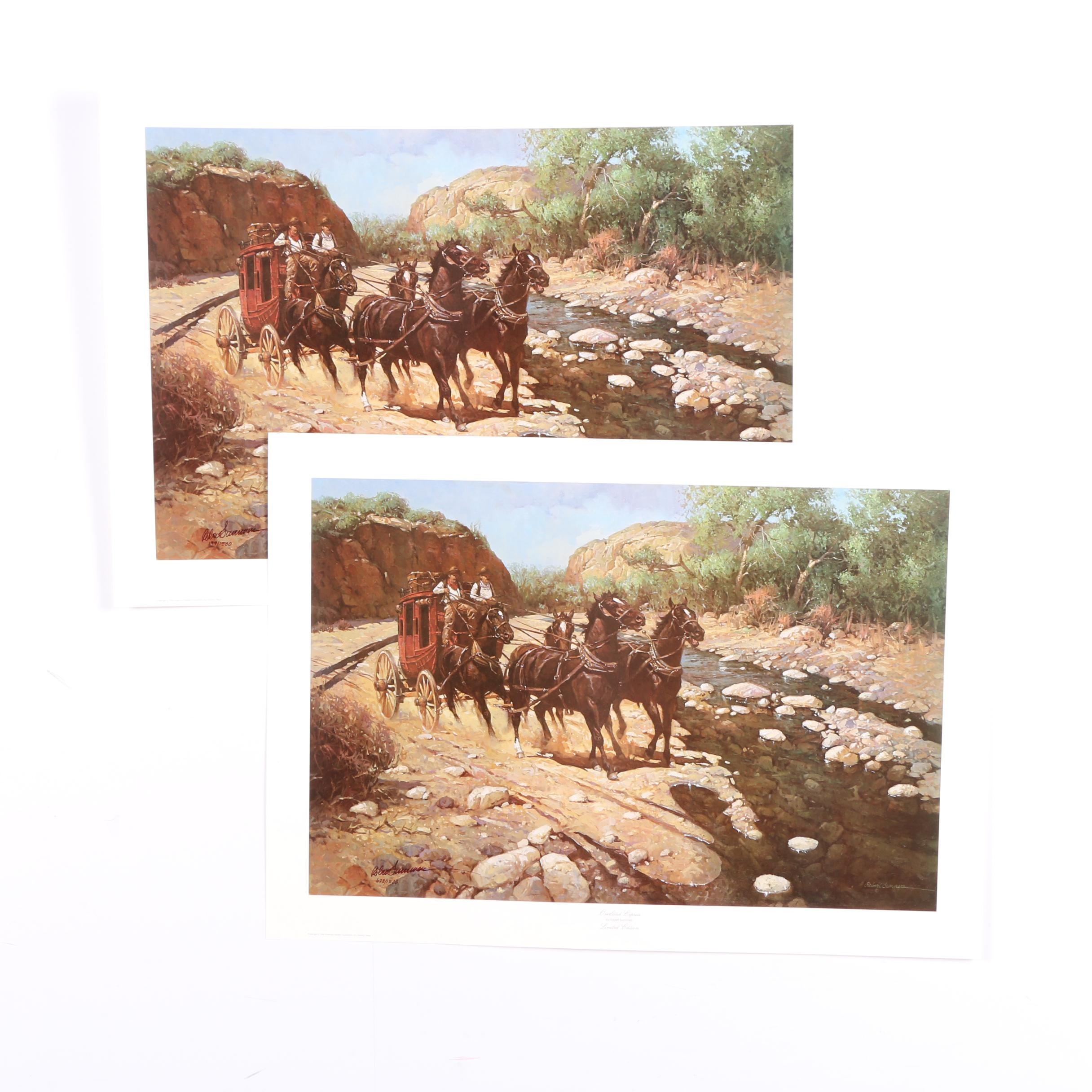 """Two Robert Summers 1984 Limited Edition Offset Lithographs """"Overland Express"""""""
