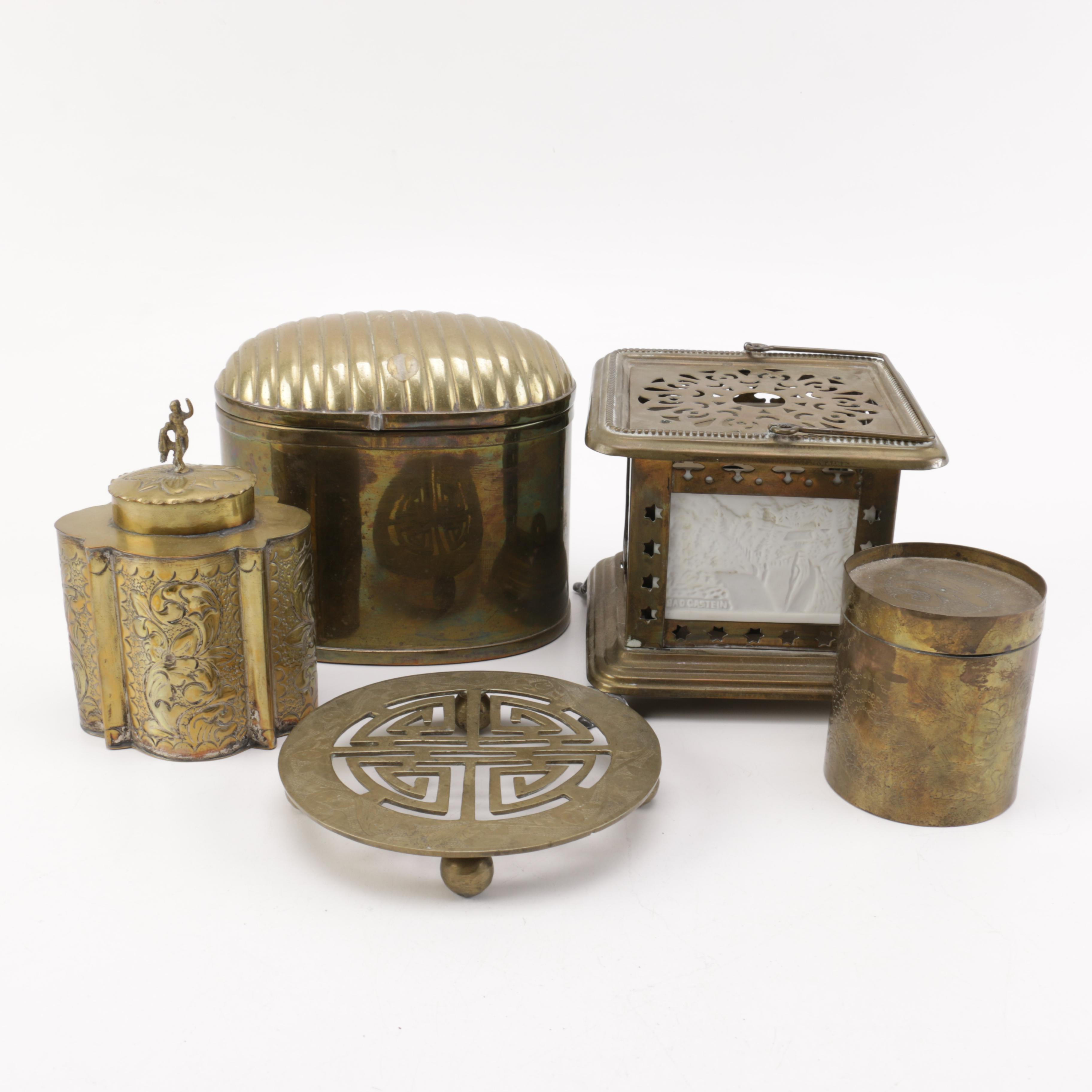 Brass Boxes, Oil Lamp and Other Decor