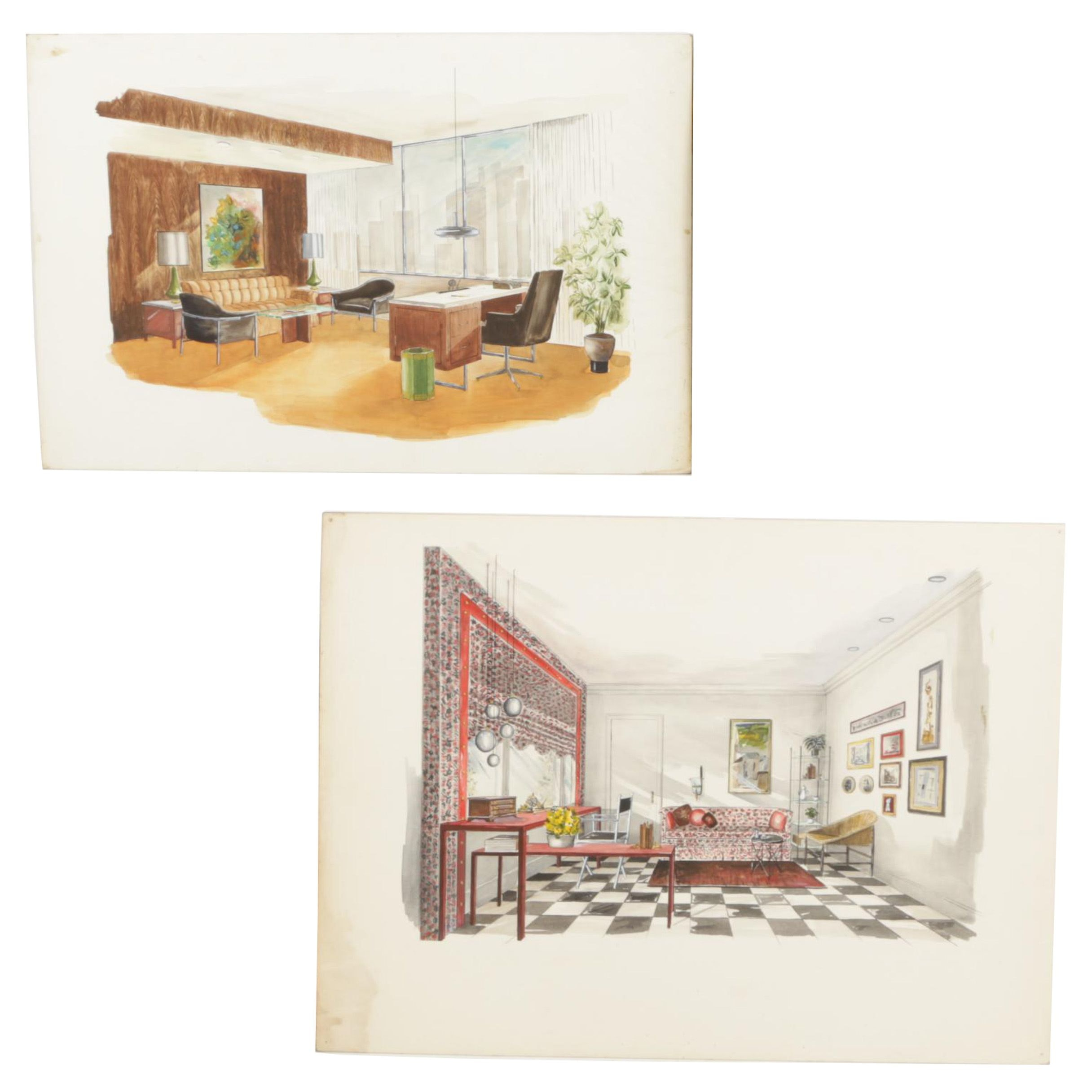 Original Mid-Century Modern Interior Design Renderings