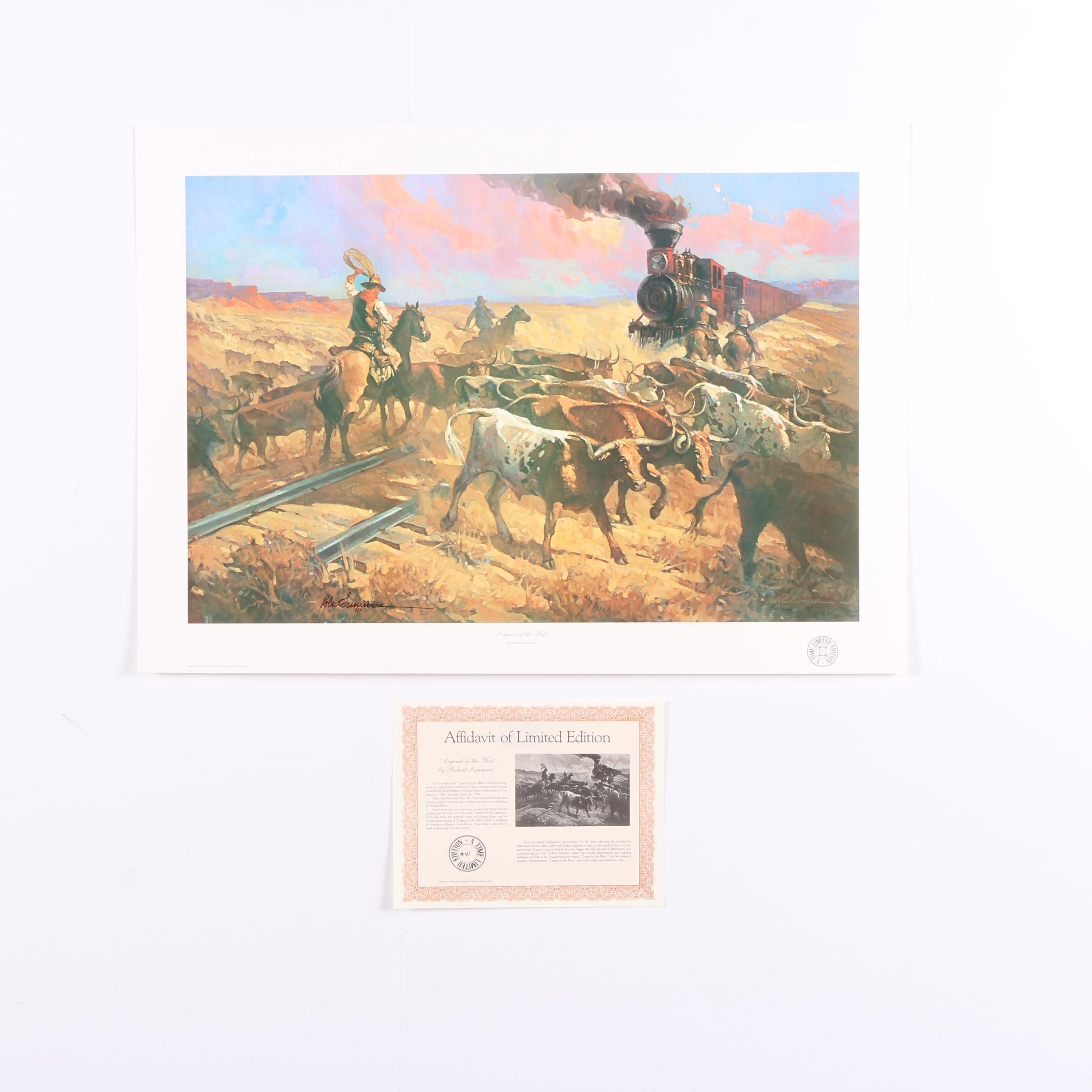 "Robert Summers 1986 Limited Edition Offset Lithograph ""Legend of the West"""